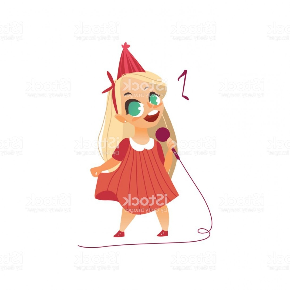 Singing Girls Vector Art: Vector Flat Kid Girl Singing At Microphone Gm