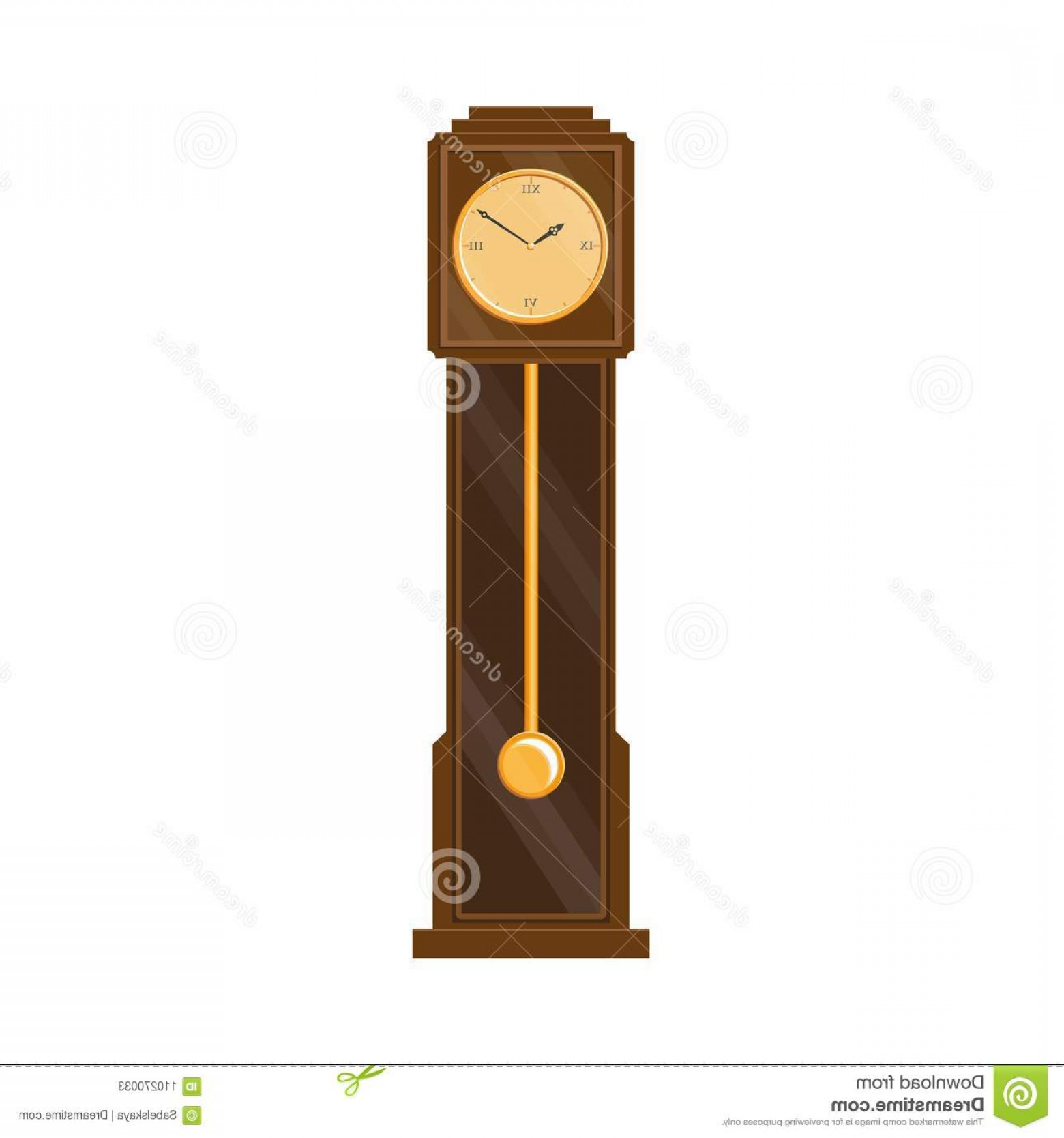 Old Floor Clock Vector: Vector Flat Vintage Grandfather Clock Isolated Vector Flat Vintage Antique Wooden Grandfather Pendulum Clock Icon Your Design Image