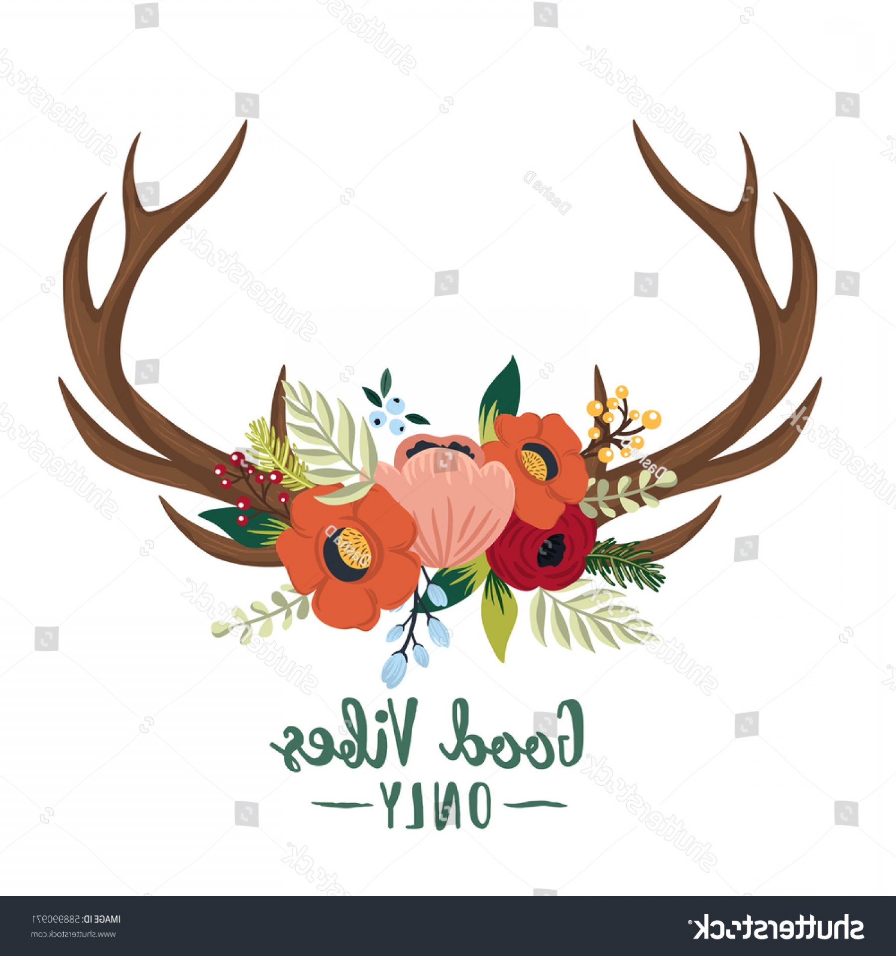 Bohemian Flowers Vector: Vector Floral Antlers Bohemian Style Hand