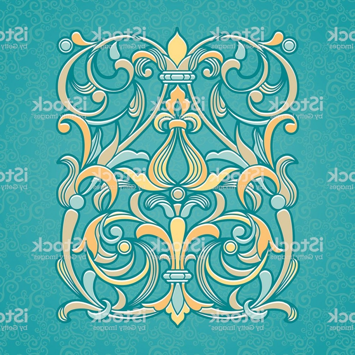 Aqua Victorian Vectors: Vector Floral Pattern In Victorian Style Gm