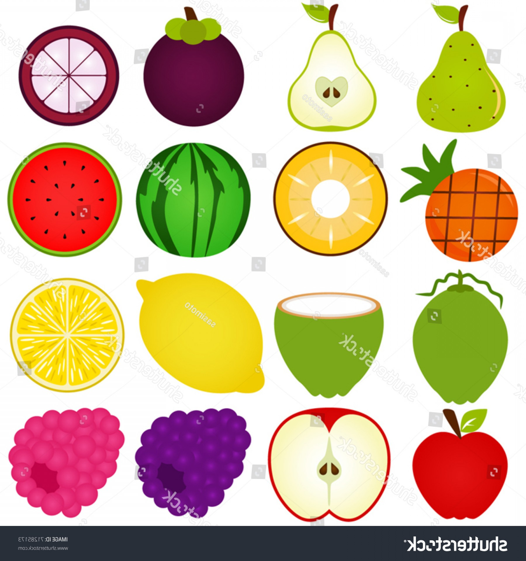 Vector Fruit Vegetable: Vector Fresh Fruit Vegetable Cut Half