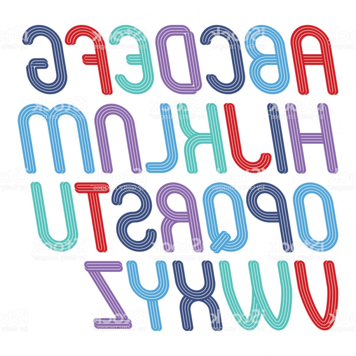 Cursive Lines Vector: Vector Funky Cursive Capital Alphabet Letters Collection With Parallel Lines Can Be Gm