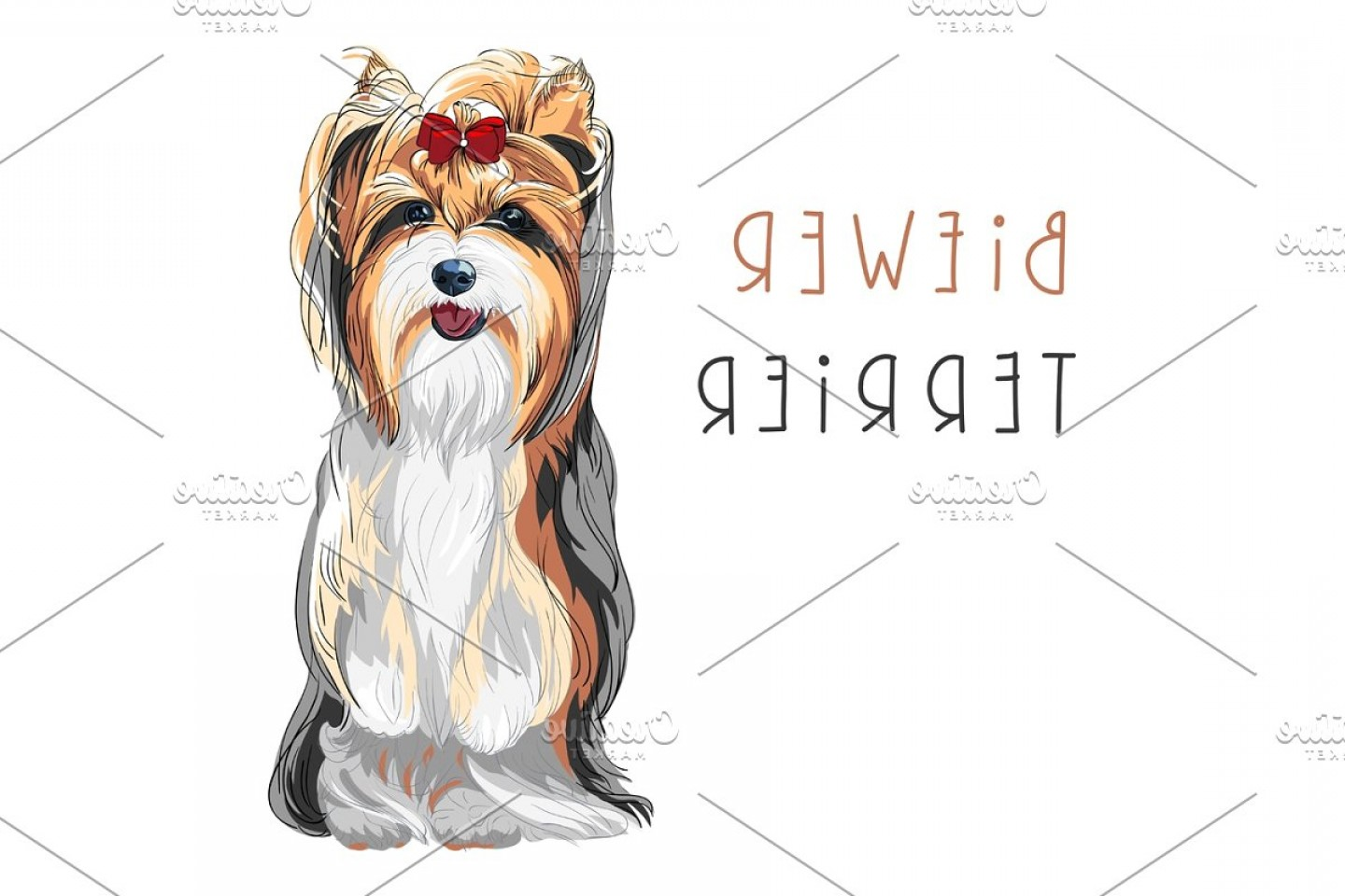 Cute Yorkie Dog Vector: Vector Funny Biewer Yorkshire Terrier Dog Sitting