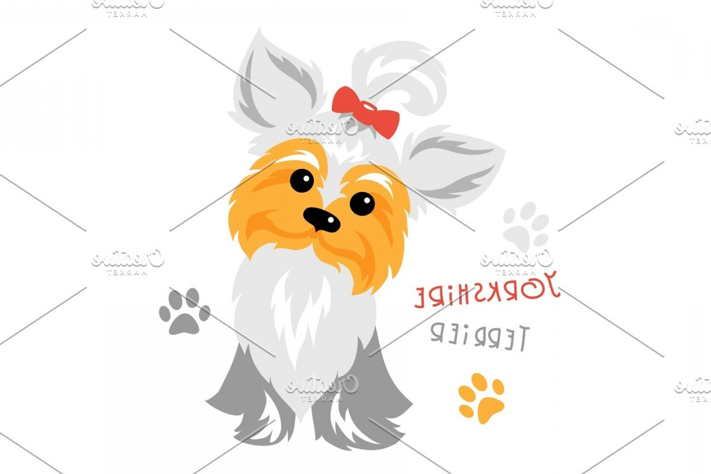 Cute Yorkie Dog Vector: Vector Funny Yorkshire Terrier Dog Sitting