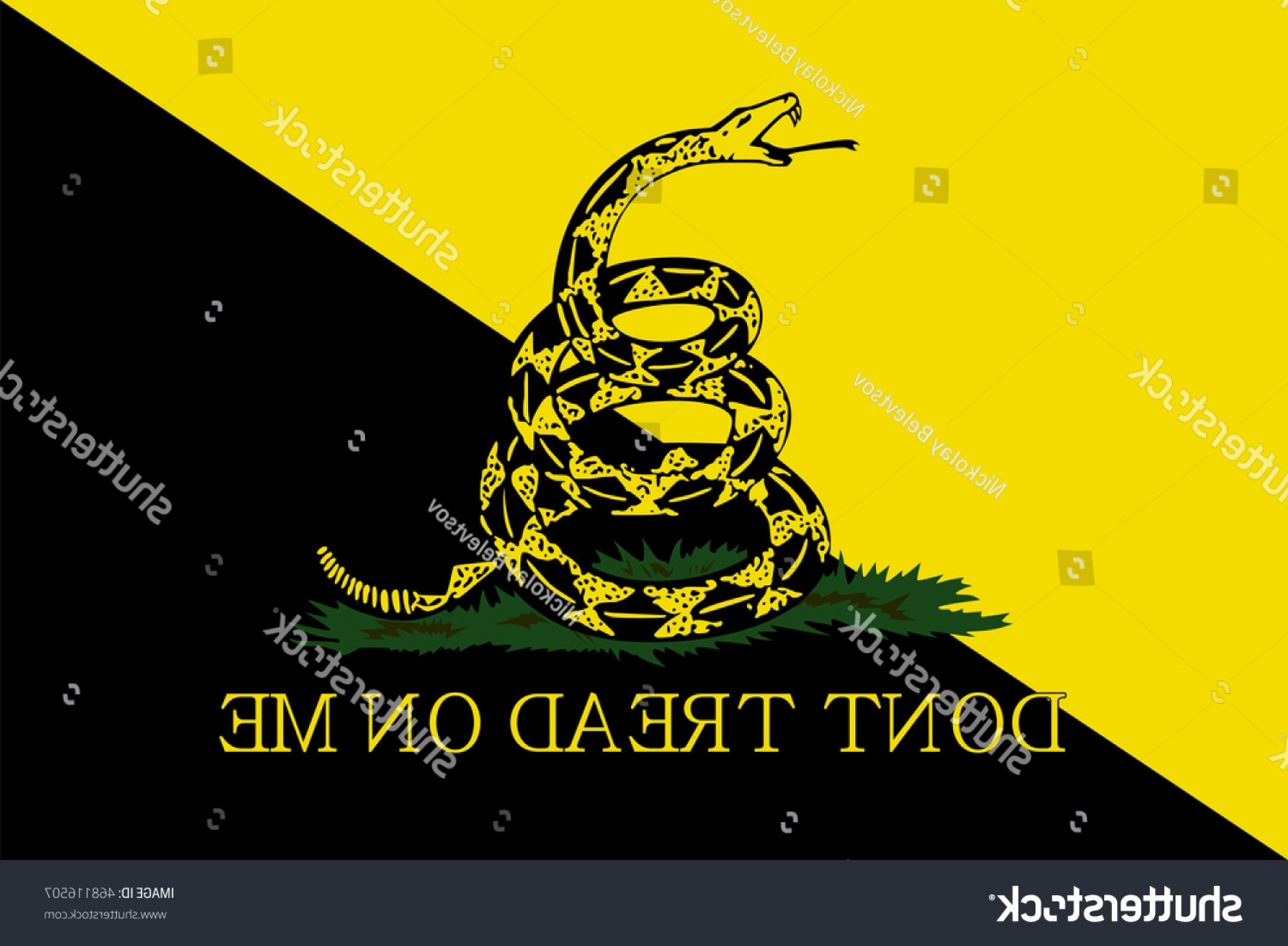 Gadsden Flag Vector Art: Vector Gadsden Flag Depicting Rattlesnake Coiled