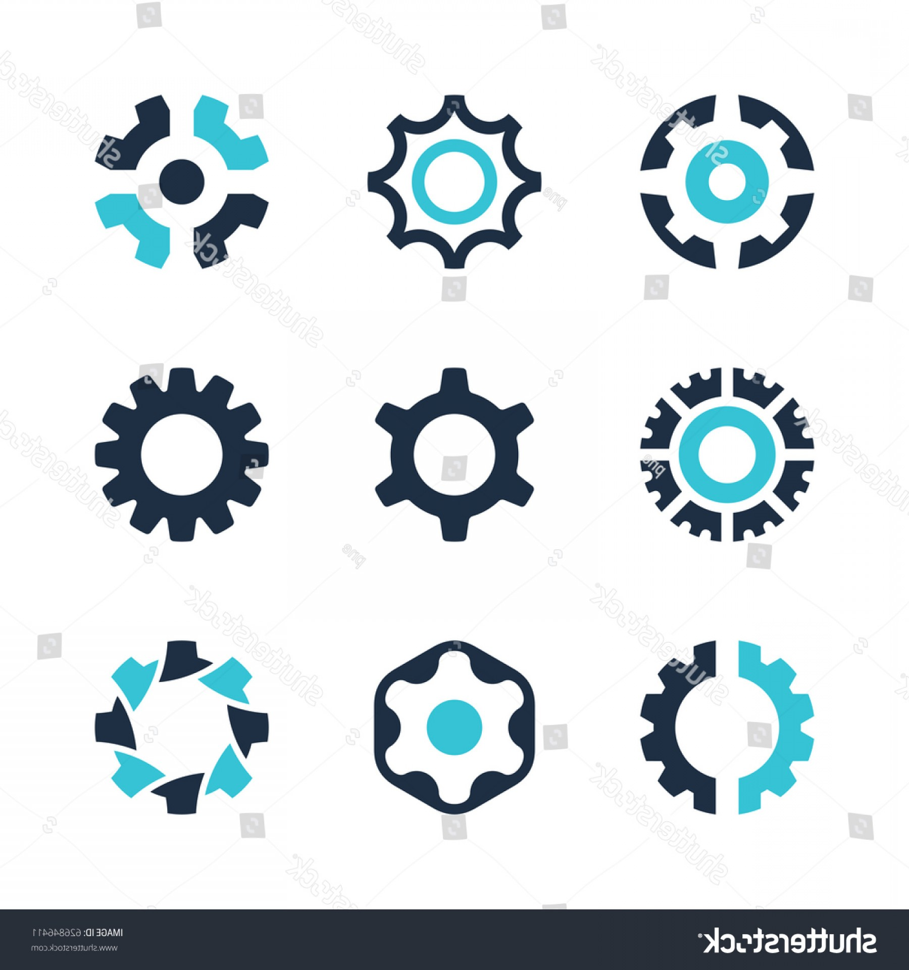 Gear Vector Icons Large: Vector Gear Wheel Icons Logo Design