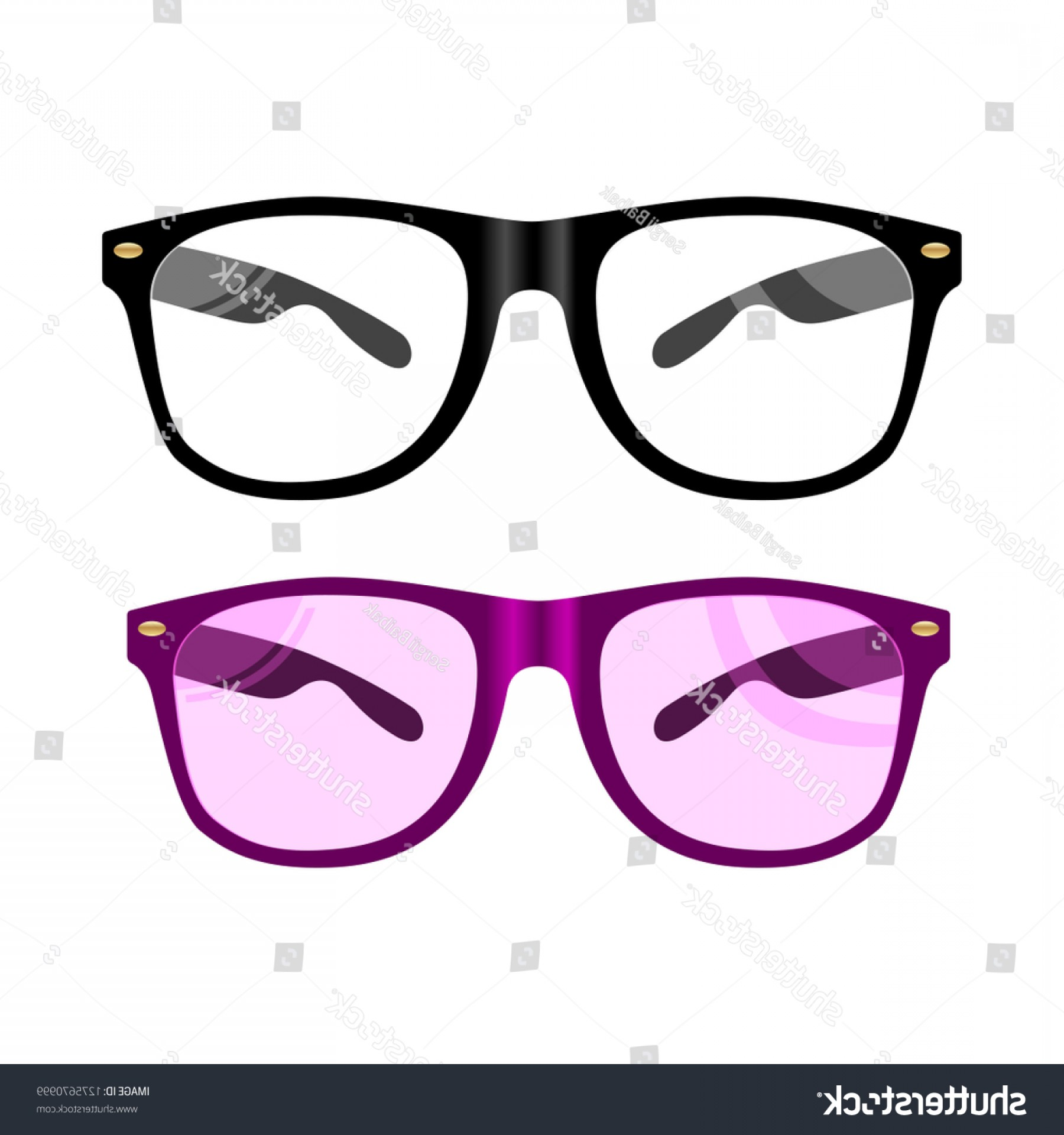 Reading Glasses For Men Vector: Vector Glasses Flat Illustration Black Rim