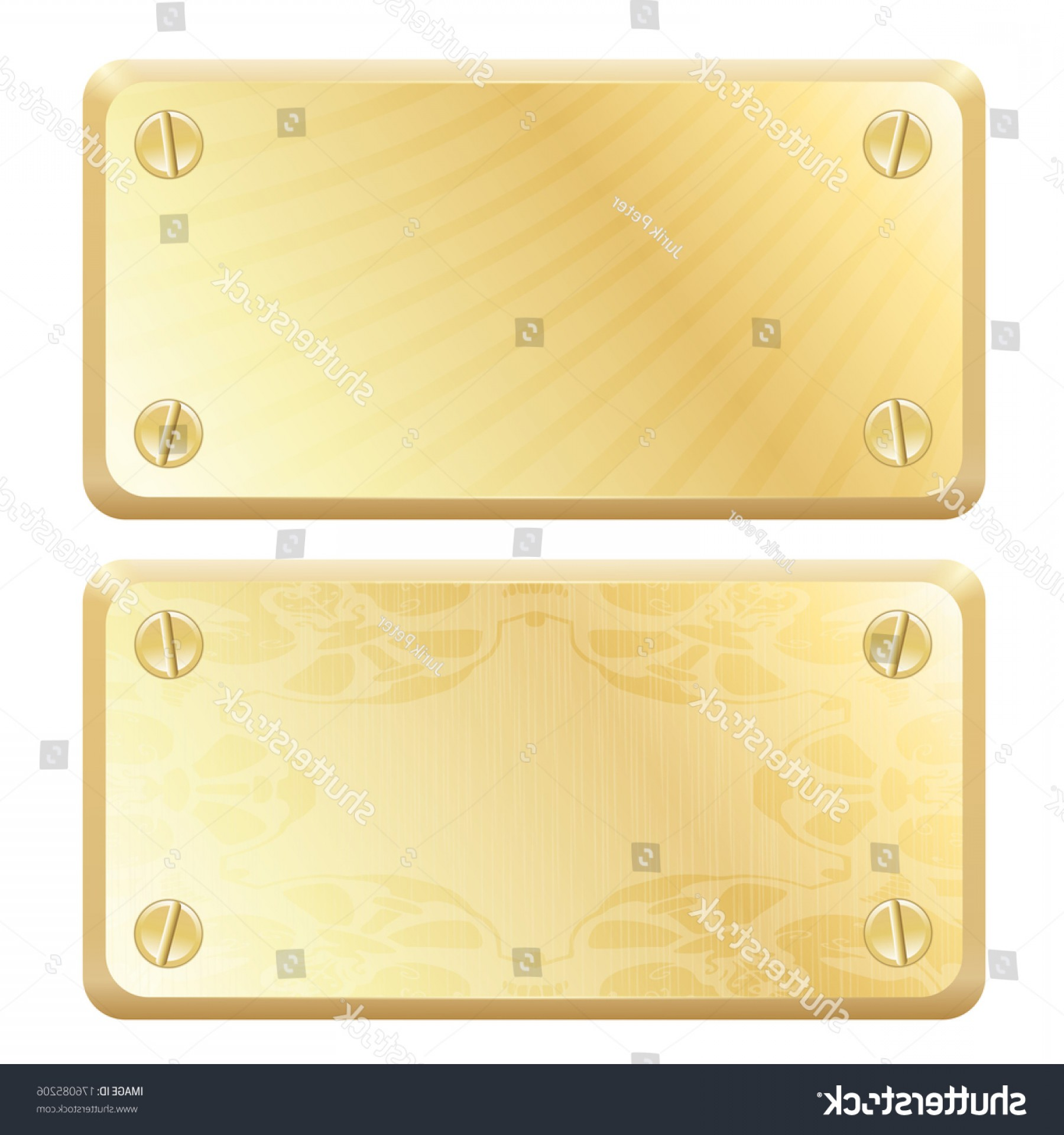 Nameplate Vector Graphics: Vector Gold Metal Labels Nameplates
