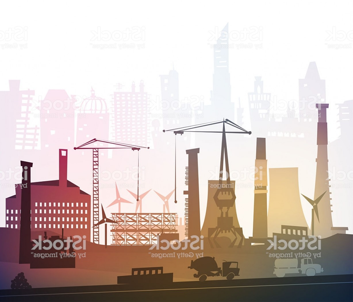 Factory Vector Skyline: Vector Graphic Of A Factory Cranes And Hazy Skyline Behind Gm