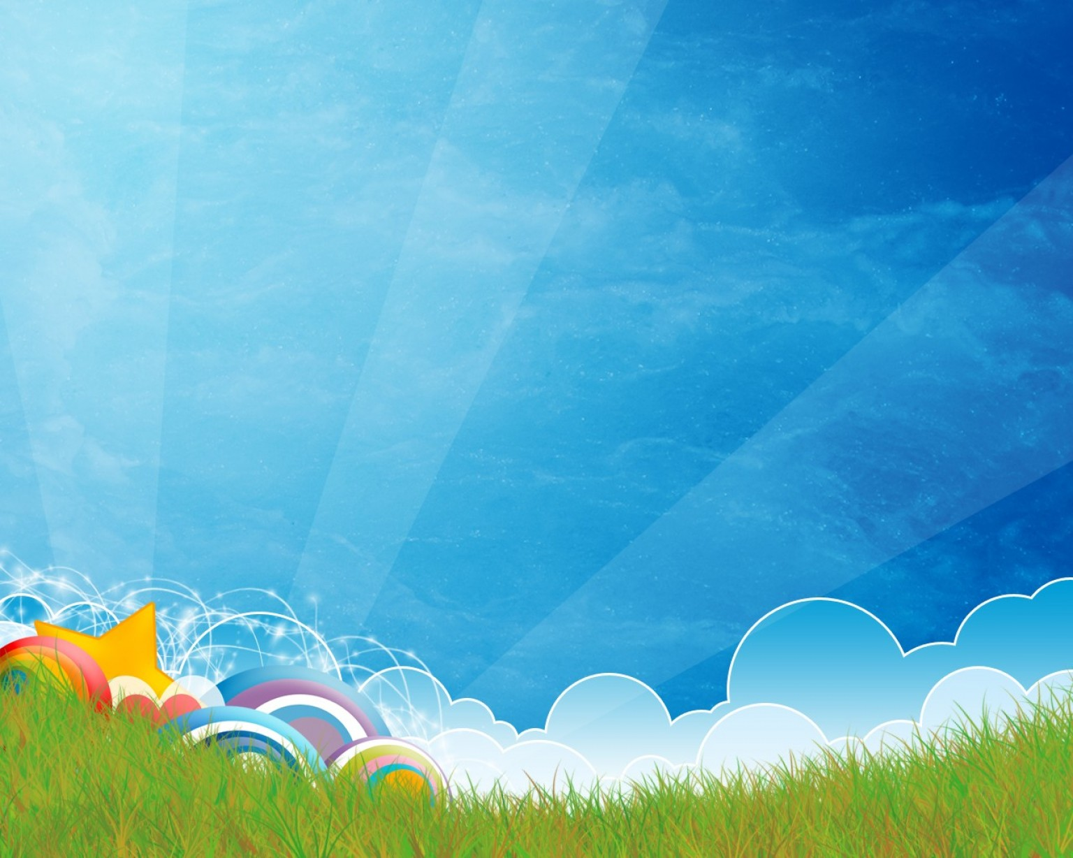 Clouds Backgrounds Vector: Vector Grass Star Light Clouds Backgrounds