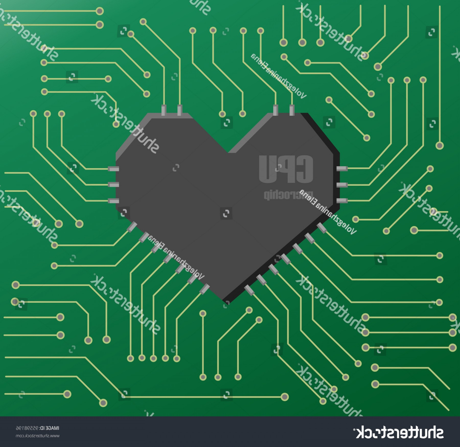Motherboard Vector With A Heart: Vector Green Motherboard Heart Shape Cpu
