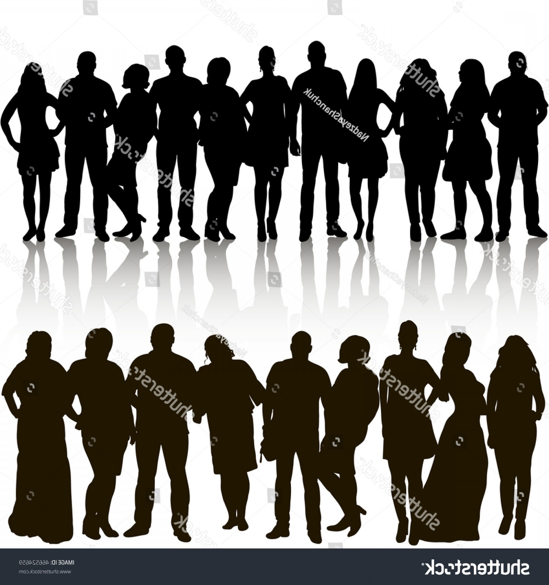 Sillouhette Vector Group: Vector Group People Silhouettes On White