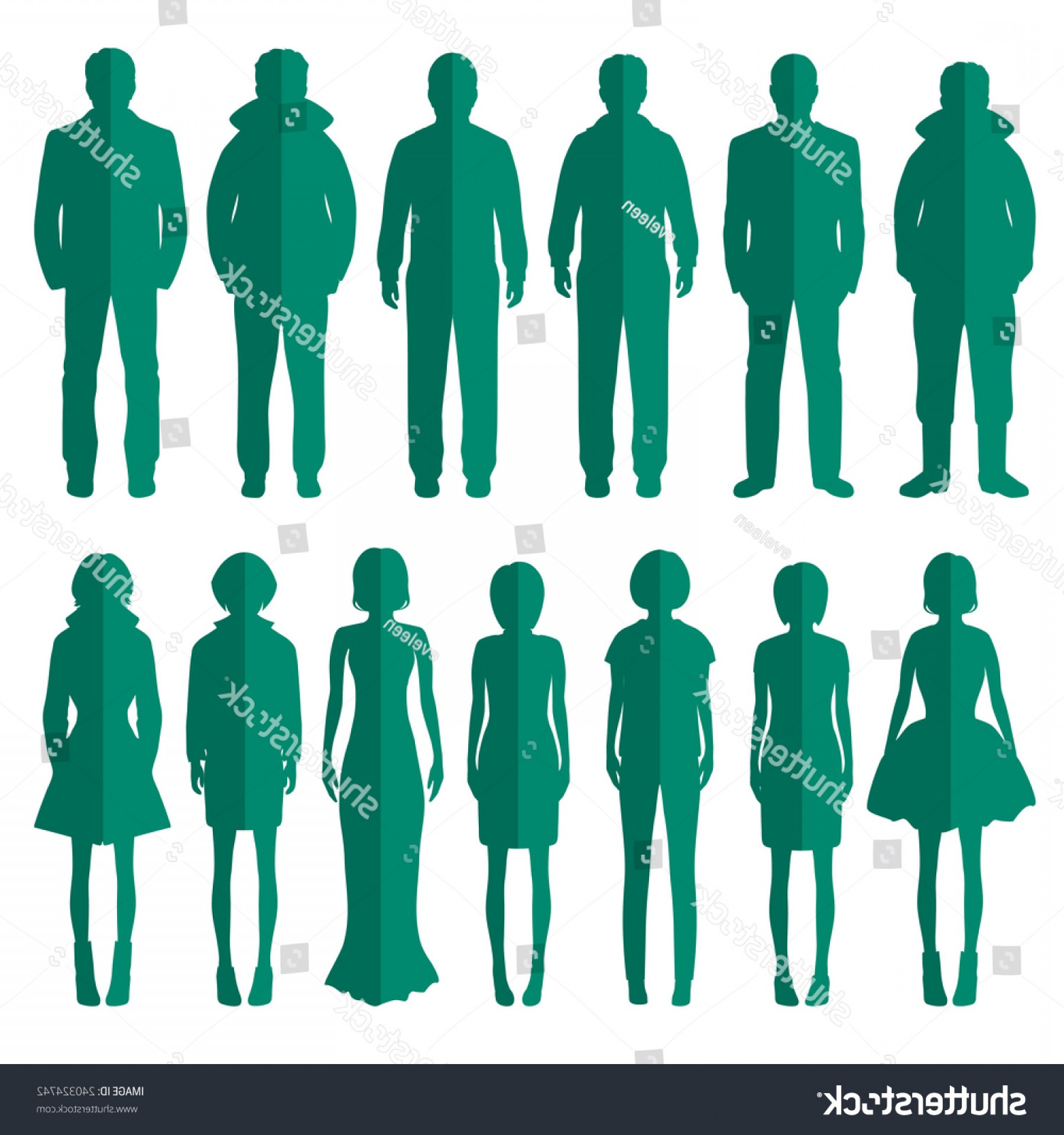 Sillouhette Vector Group: Vector Group Standing People Silhouettes Icons