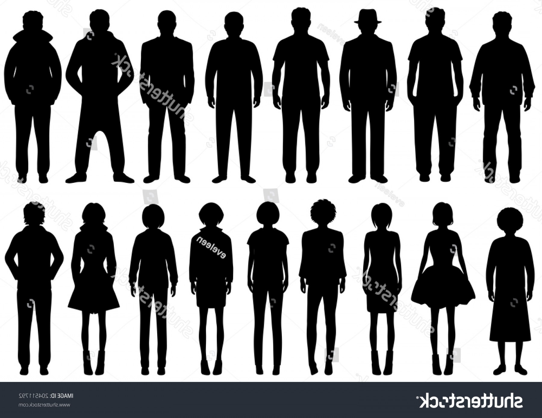 Sillouhette Vector Group: Vector Group Standing People Silhouettes Sport