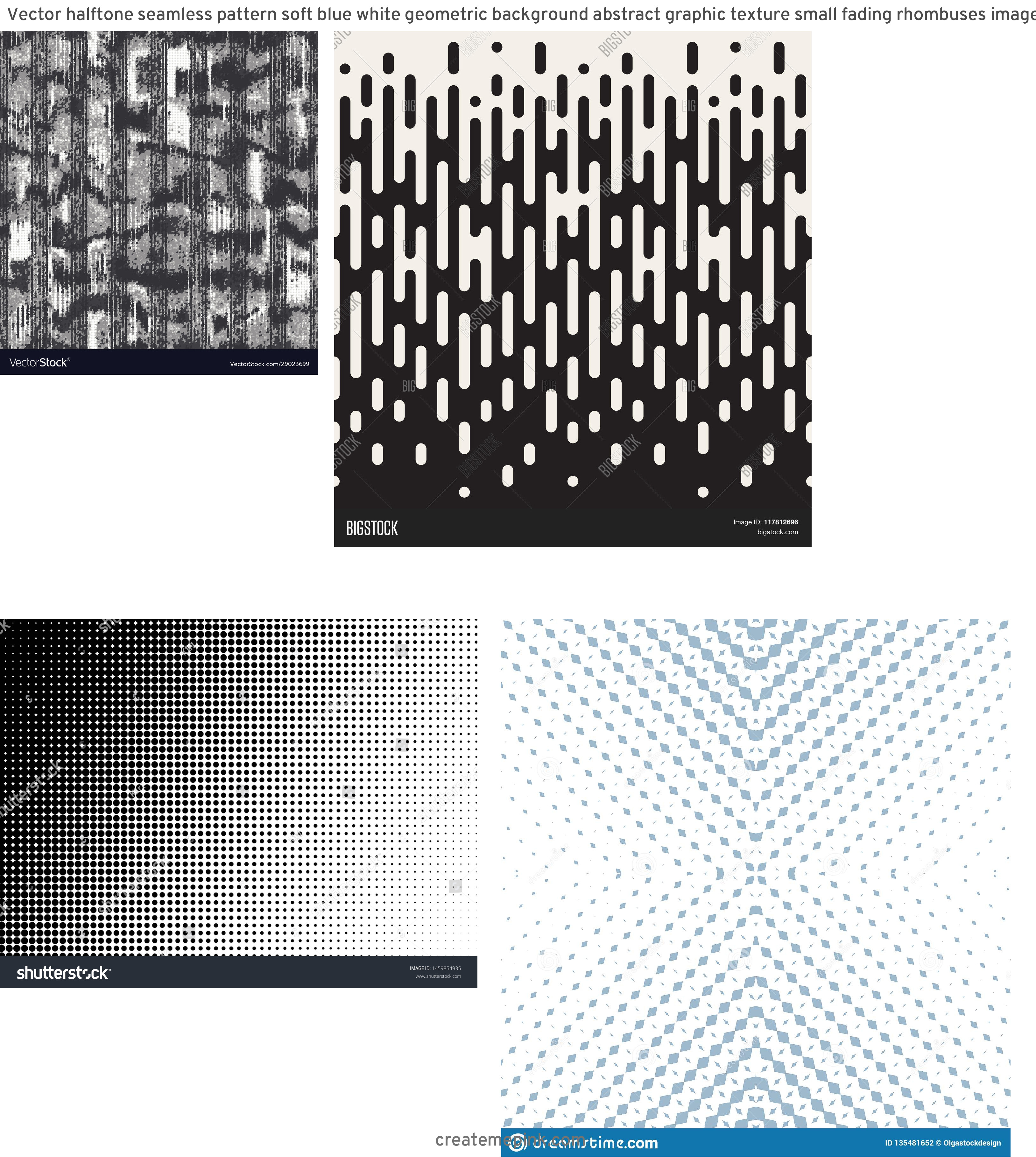 Modern Fading Vector Pattern: Vector Halftone Seamless Pattern Soft Blue White Geometric Background Abstract Graphic Texture Small Fading Rhombuses Image