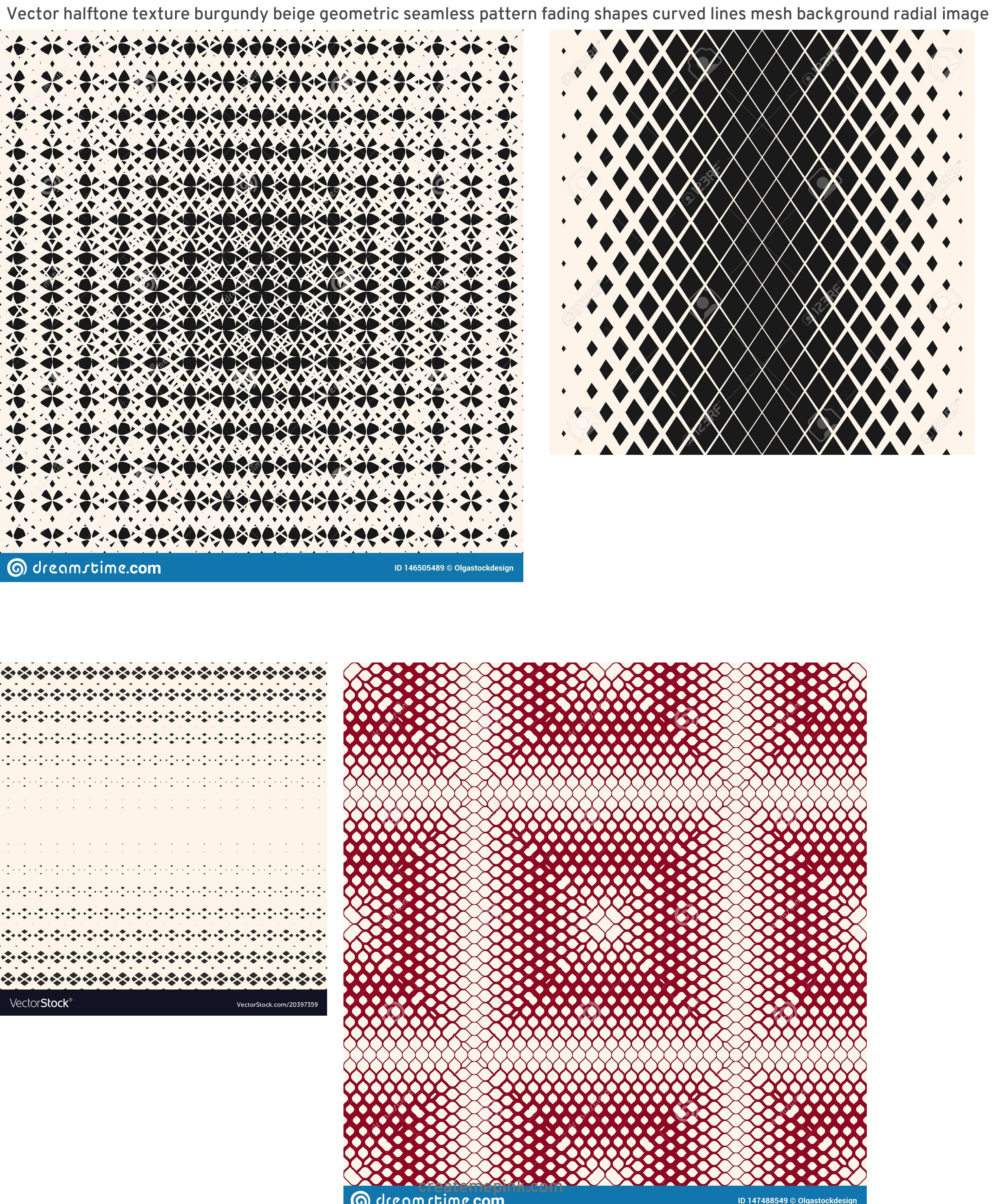 Modern Fading Vector Pattern: Vector Halftone Texture Burgundy Beige Geometric Seamless Pattern Fading Shapes Curved Lines Mesh Background Radial Image