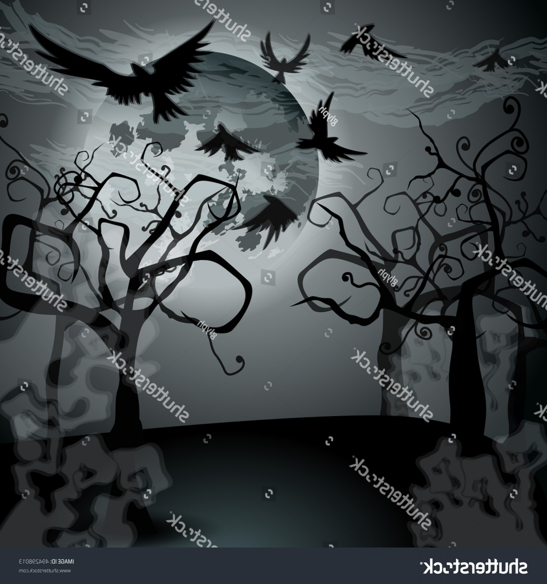Full Moon Werewolf Vector 900: Vector Halloween Illustration Full Moon Crows