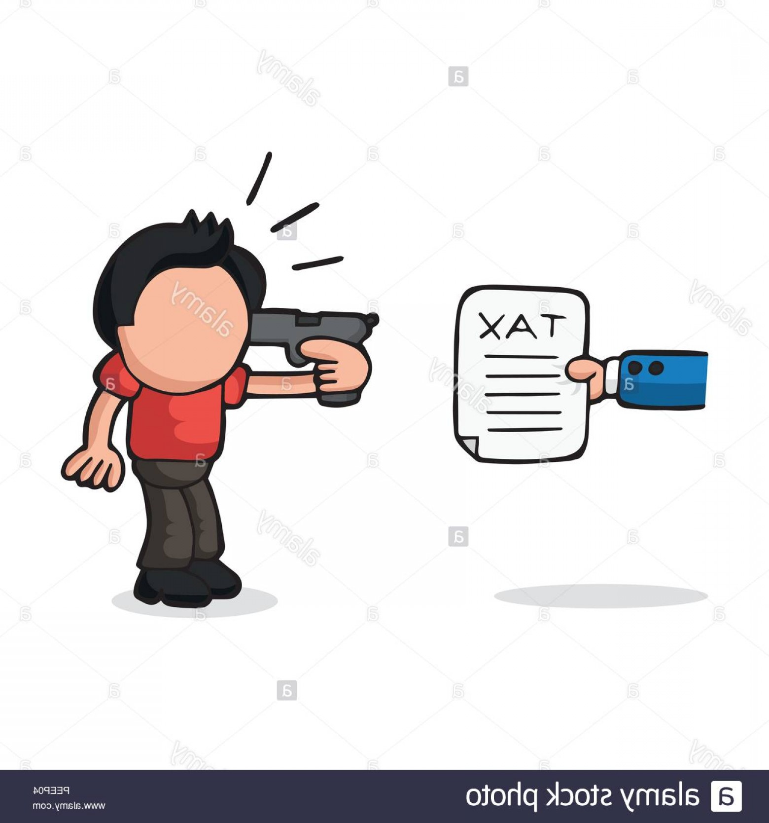 Finger Gun To Head Vector: Vector Hand Drawn Cartoon Illustration Of Depressed Man Holding Gun To Head Presented With Tax Image