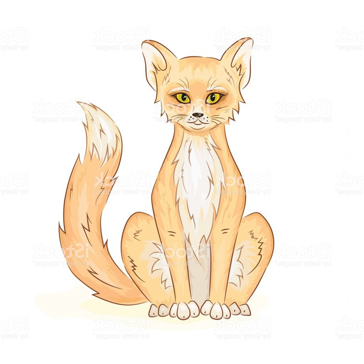 Sitting Fox Logo Vector: Vector Hand Drawn Printable Illustration Of Colorful Cute Sitting Fox Gm
