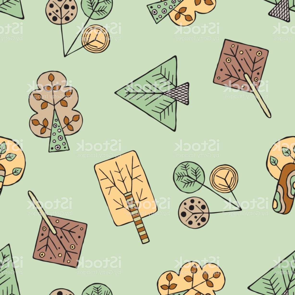 Tribal Vector Art Trees: Vector Hand Drawn Seamless Pattern Decorative Stylized Childish Trees Doodle Style Gm
