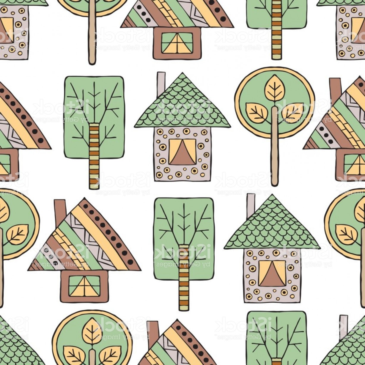 Tribal Vector Art Trees: Vector Hand Drawn Seamless Pattern Decorative Stylized Childish Trees House Doodle Gm