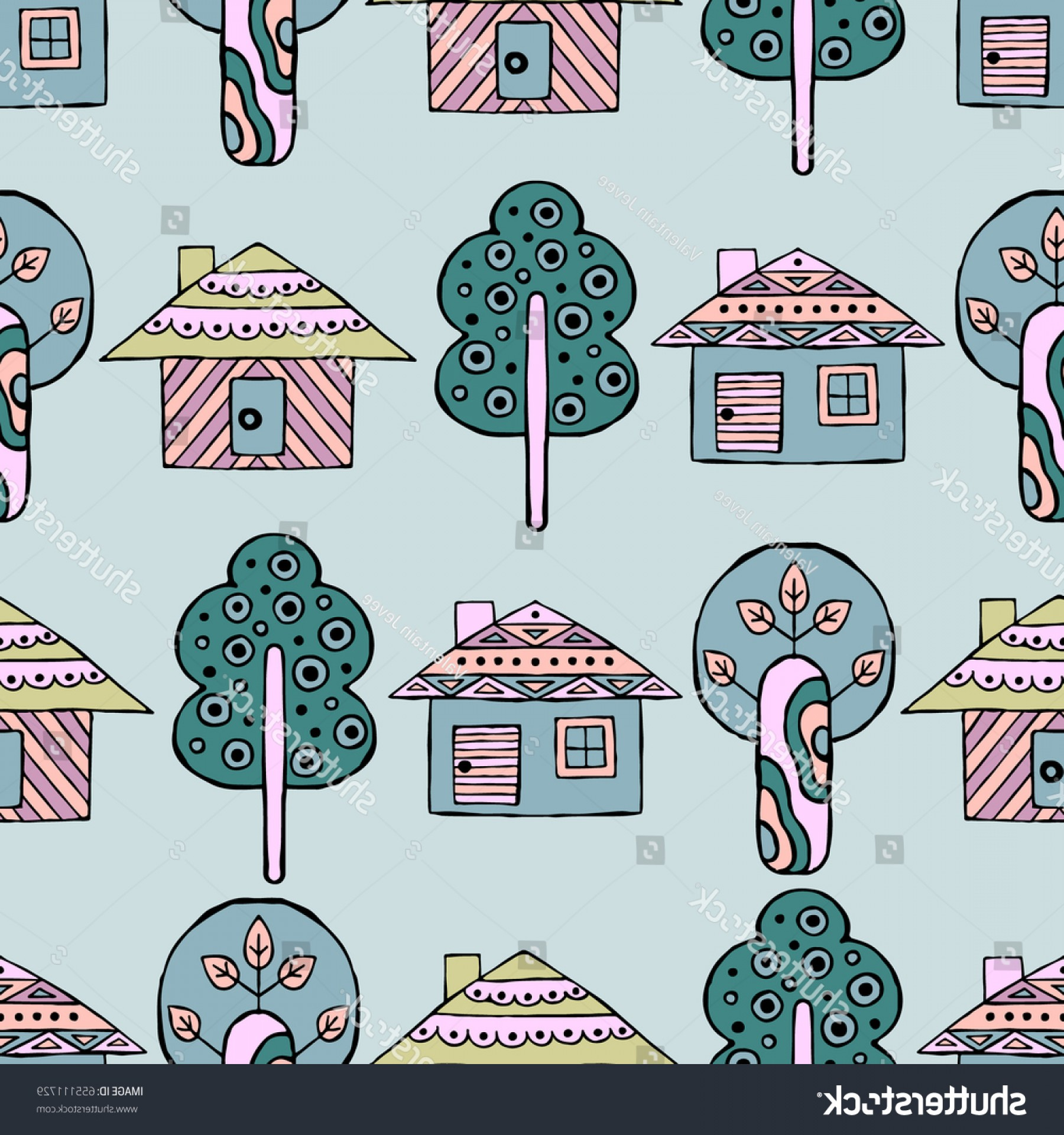 Tribal Vector Art Trees: Vector Hand Drawn Seamless Pattern Decorative