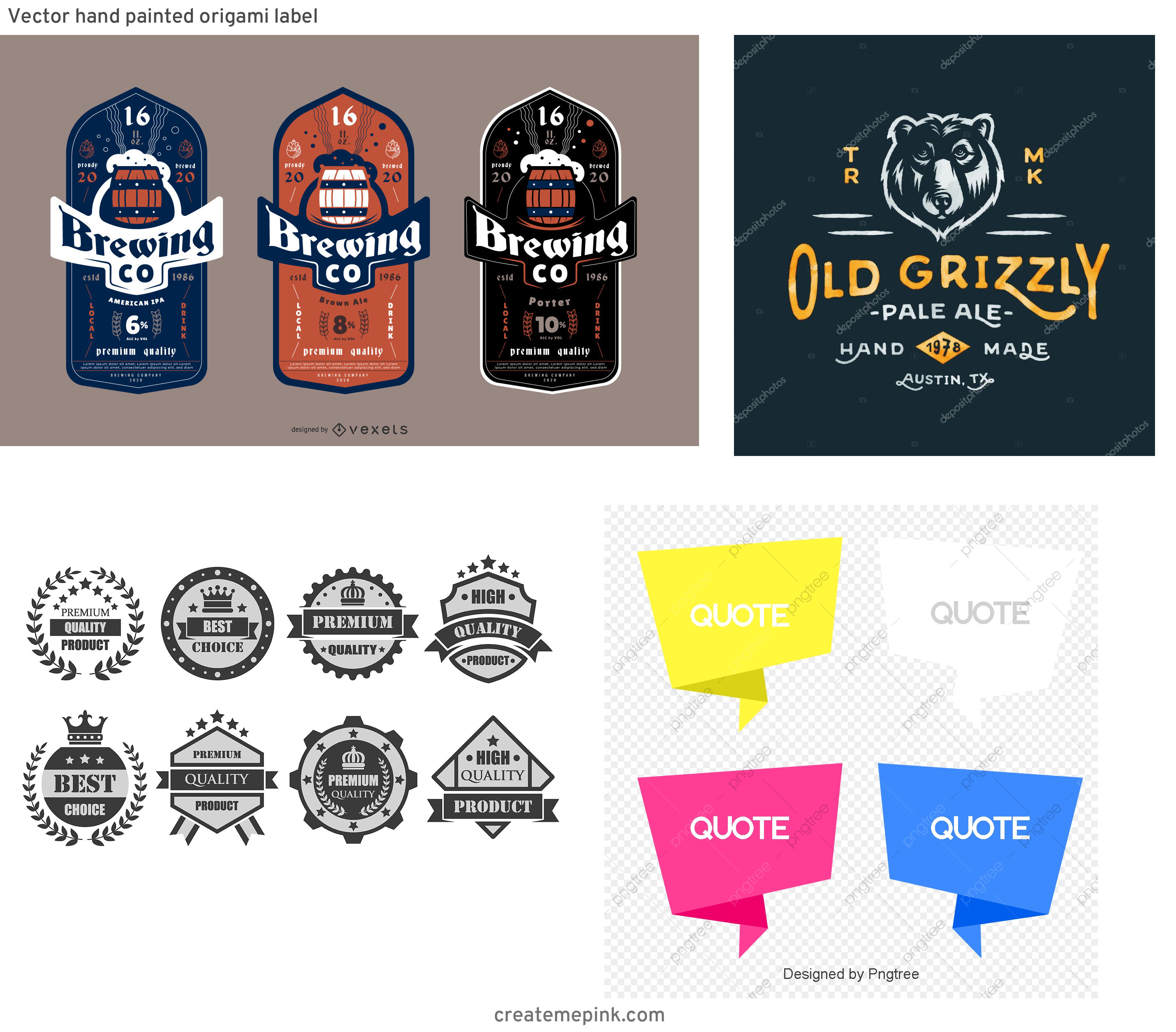 Custom Beer Labels Vector Graphics: Vector Hand Painted Origami Label