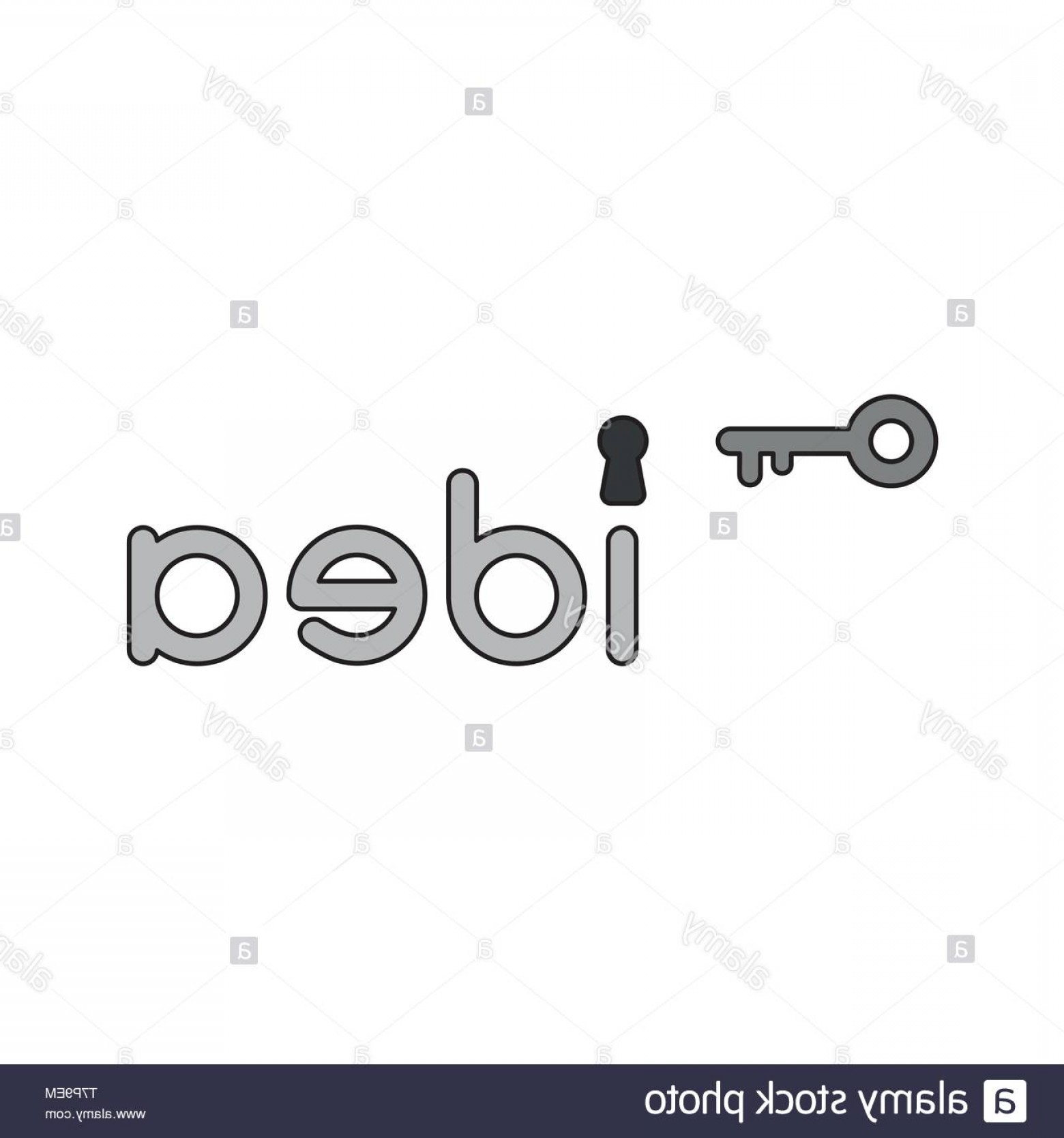 Keyholes And Key Vector Art: Vector Icon Concept Of Grey Idea Word With Keyhole And Key Image