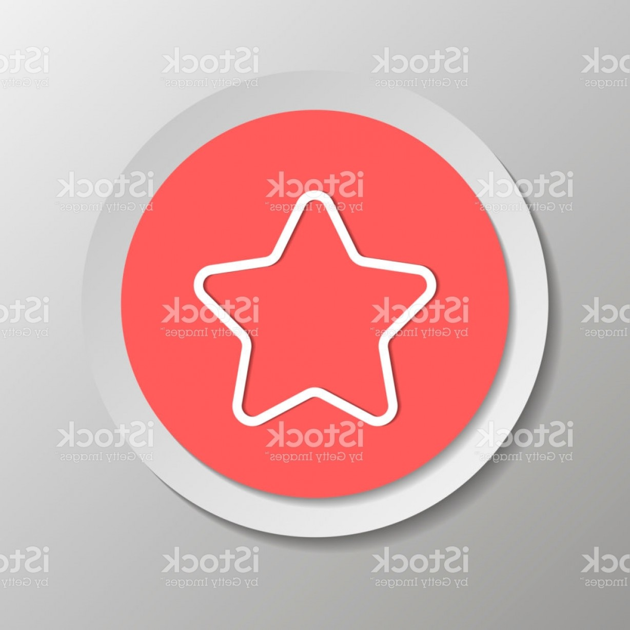 5 Point Star Vector Art: Vector Icon Five Pointed Star Vector Illustration On A Sticker With Shadow Design Gm