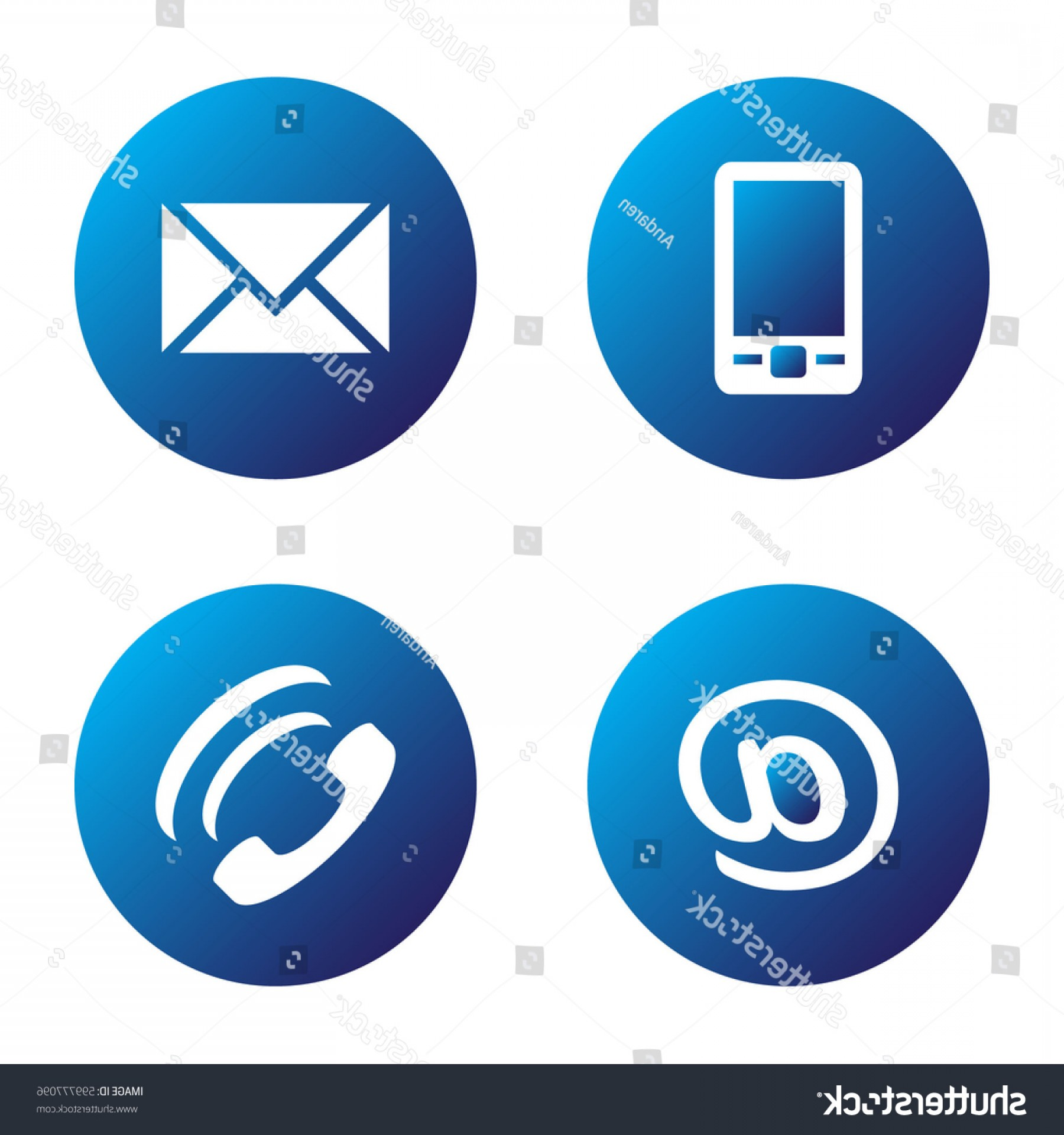 Small Email Icon Vector: Vector Icon Set Blue Spherical Communication