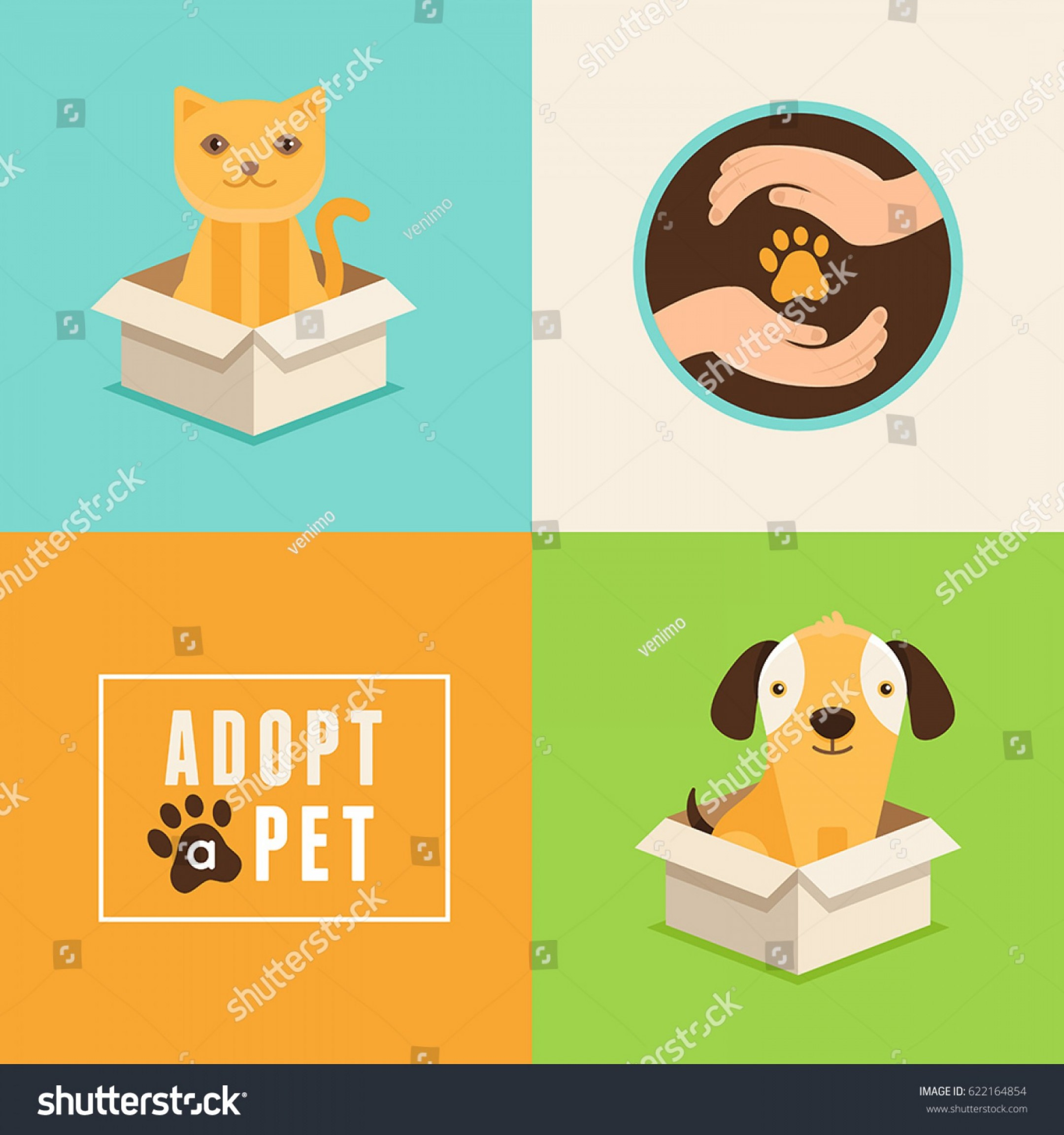 Adoption Art Animal Vector: Vector Icons Flat Style Adopt Pet