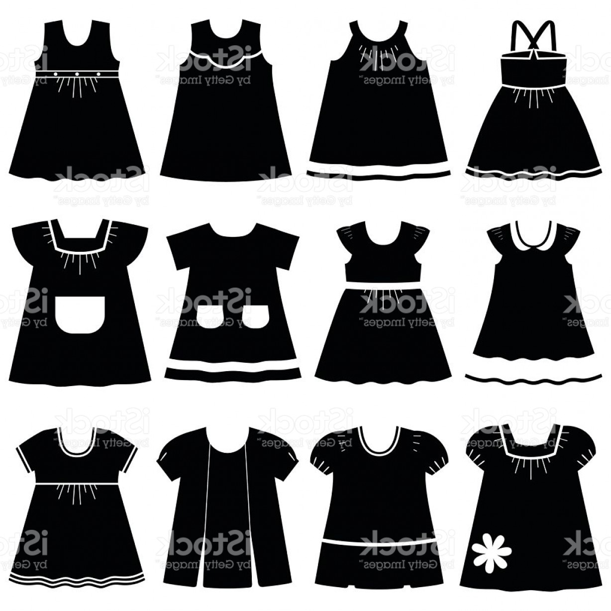 Vector Images Of Black And White Dresses: Vector Icons Of Different Childrens Dresses For Baby Girls Gm