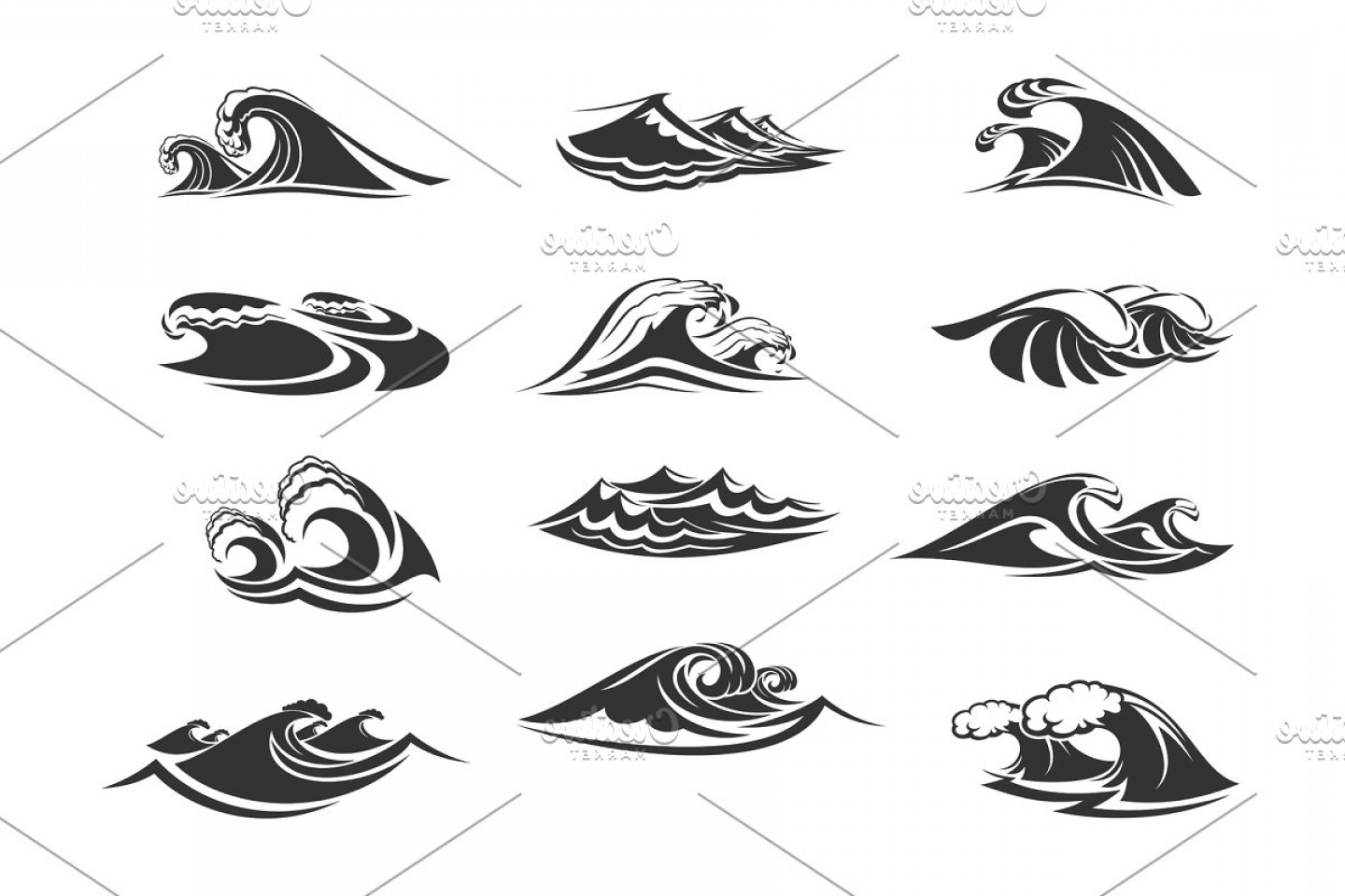 Ocean Water Clip Art Vector: Vector Icons Set Of Ocean Waves
