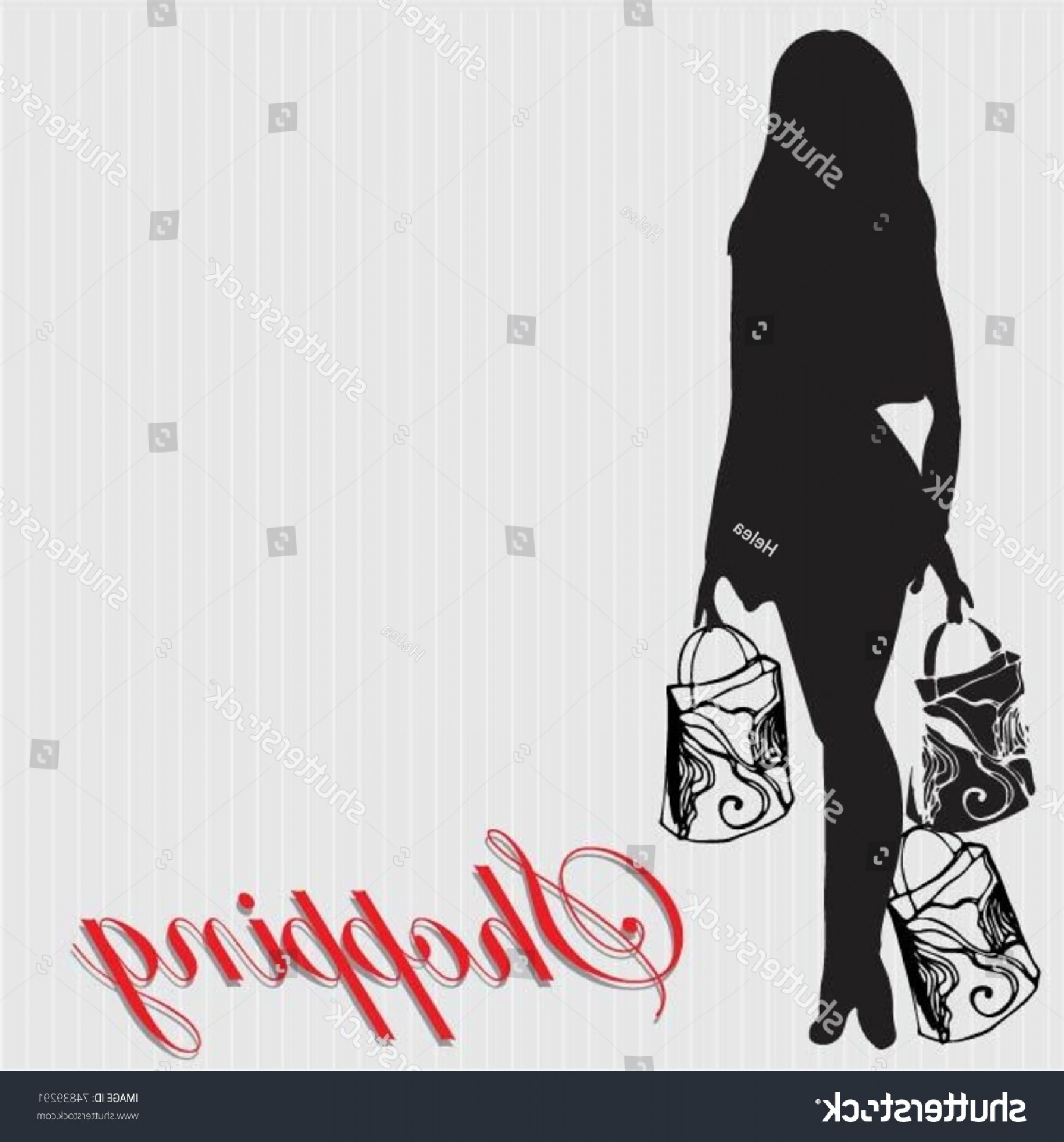 Coca-Cola Vector Silhouette: Vector Illustrated Silhouette Shopping Woman