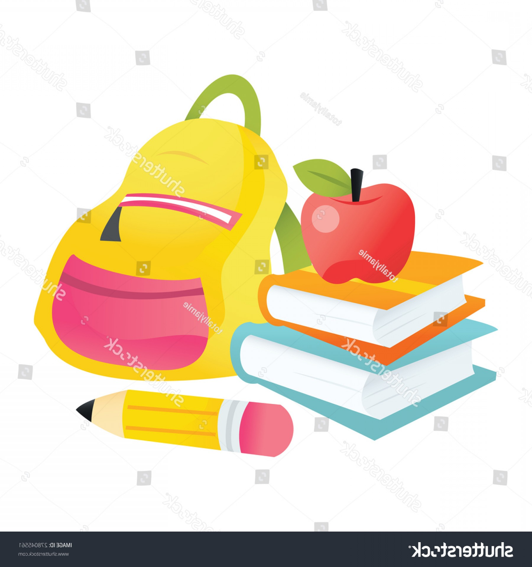 School Themed Vector: Vector Illustration Back School Theme Books