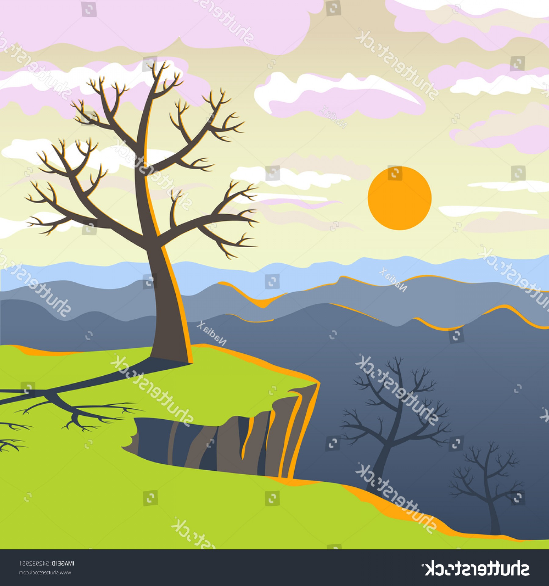 Flat Vector Background Sunset: Vector Illustration Beautiful Early Spring Sunset