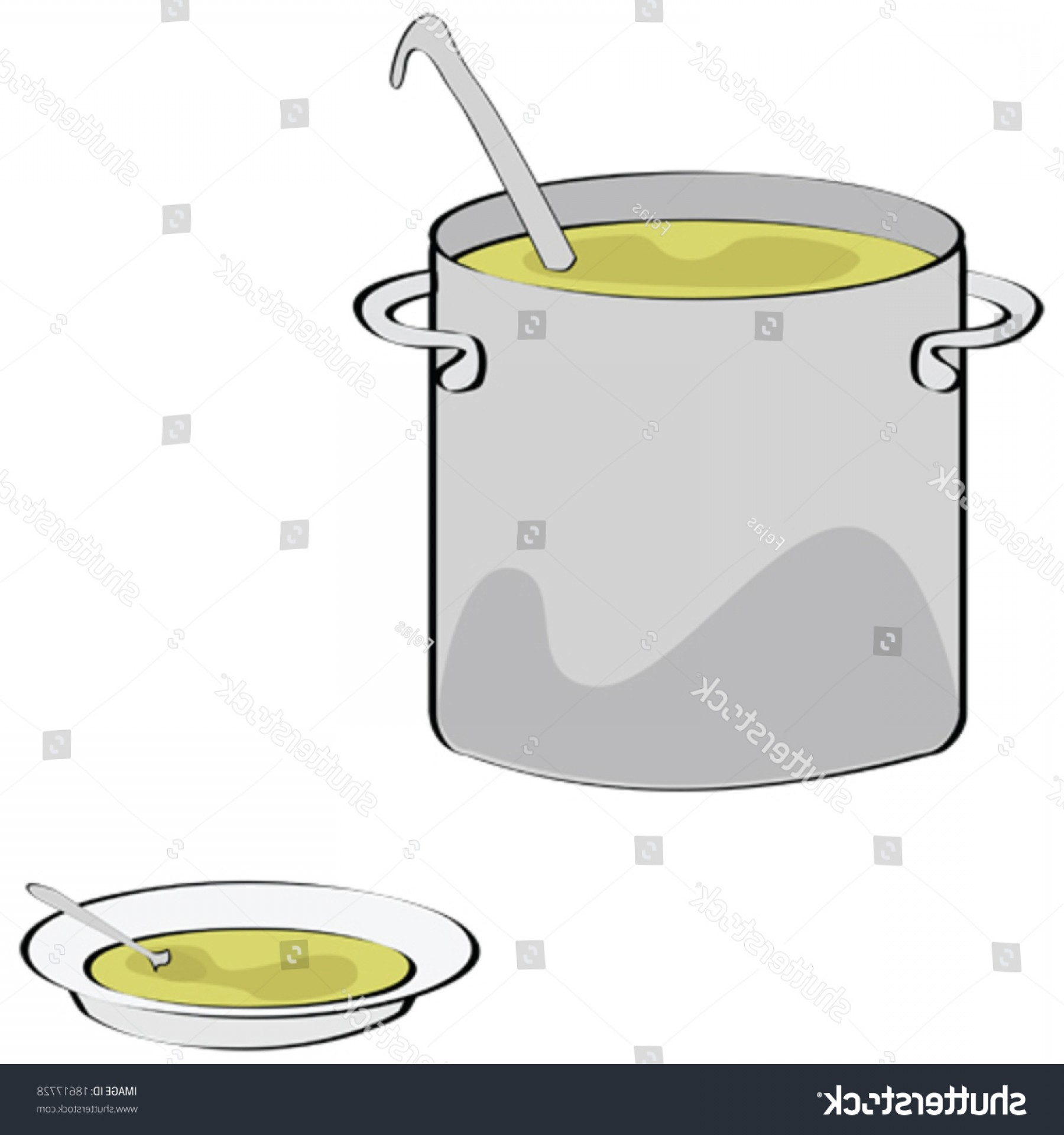 Big Cook With Cooking Pot Vector: Vector Illustration Big Cooking Pot Plate