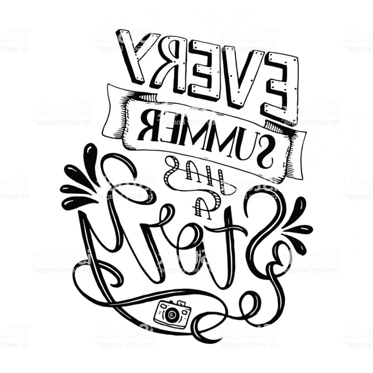 Vector Quotes: Vector Illustration Brush Lettering Composition Of Summer Quotes On White Background Gm