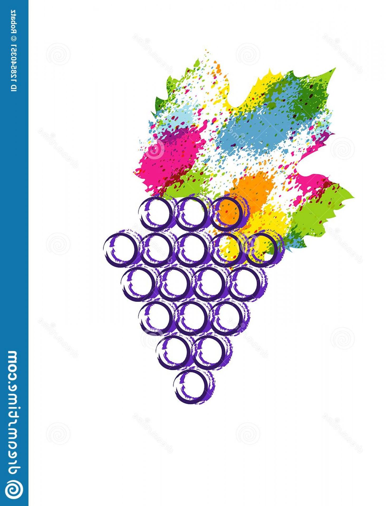 Abstract Vector Grapes: Vector Illustration Colorful Grapes Vine Icon Abstract Splash Style Watercolor Grape Berries Design Concept Wine Image