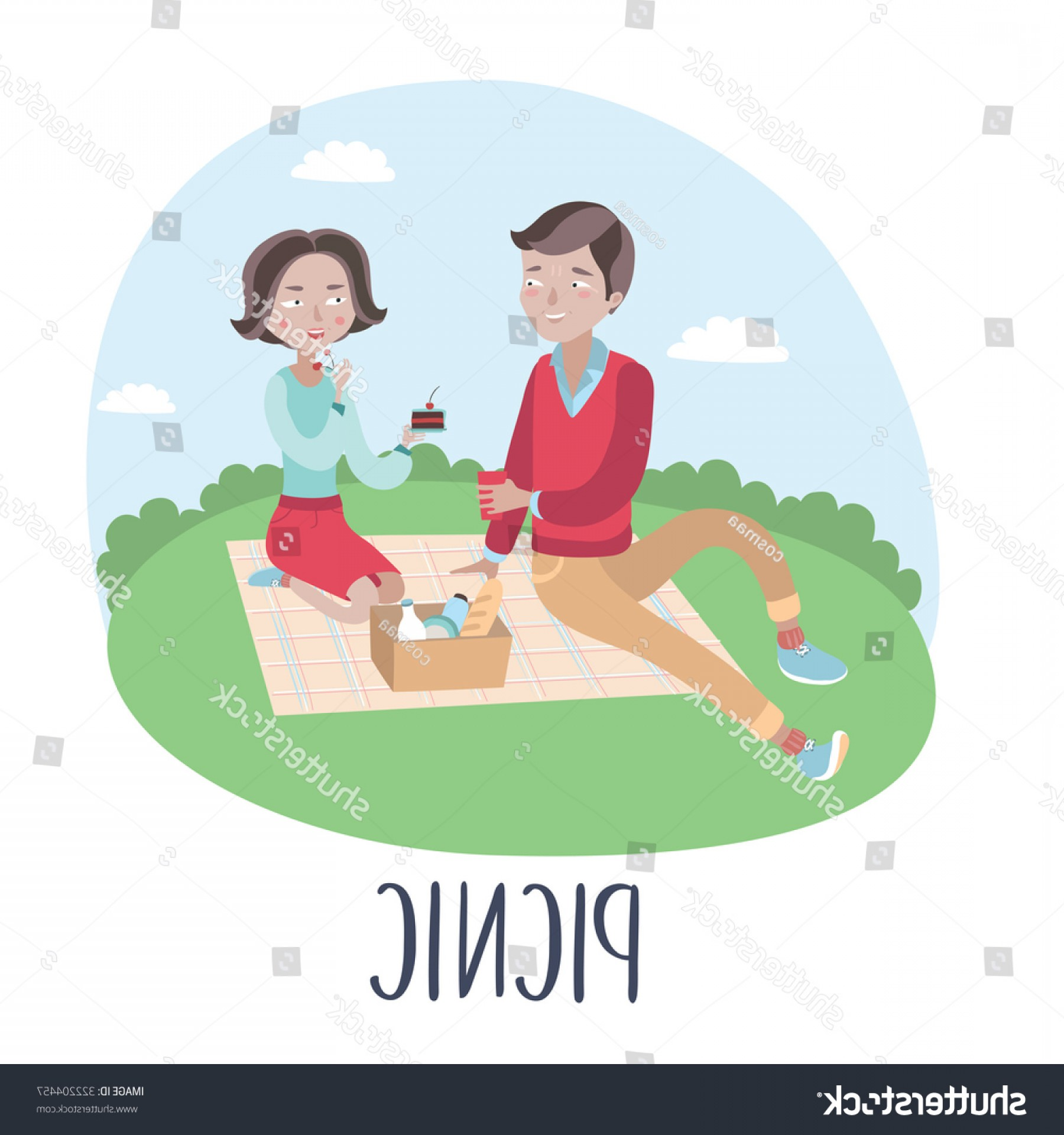Vector Word Picnic: Vector Illustration Couples Romantic Picnic On