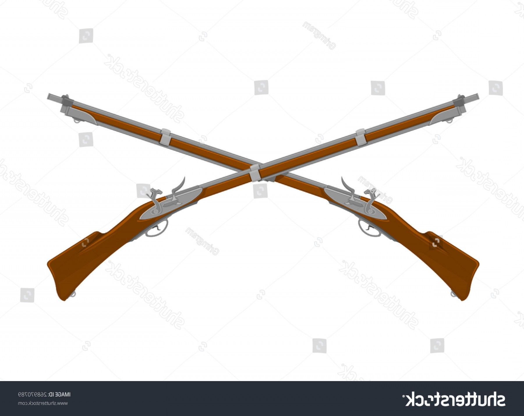 Hunting Rifle Vector Cross: Vector Illustration Crossed Old Fashioned Rifles