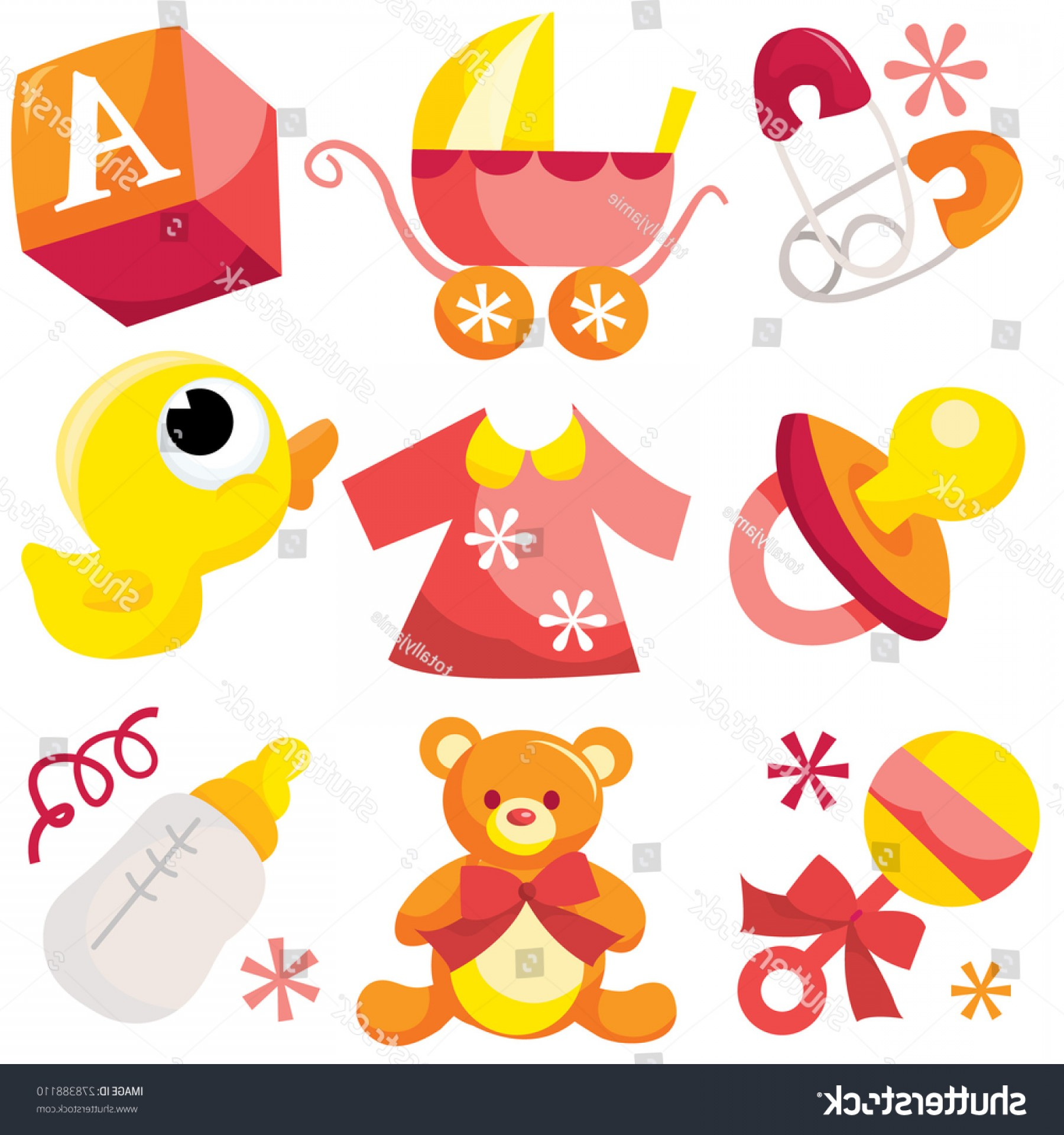 Nautical Vector Art Baby Rattle: Vector Illustration Cute Baby Boy Icons