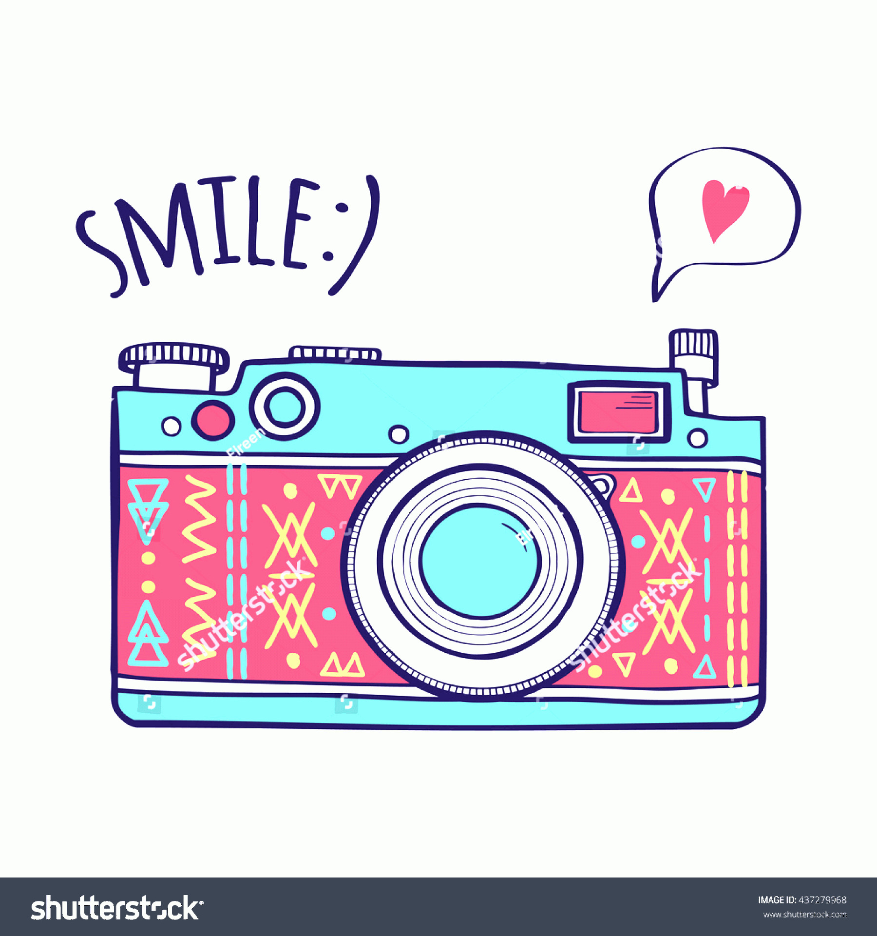 Camera Heart Clip Art Vector: Vector Illustration Cute Retro Photo Camera