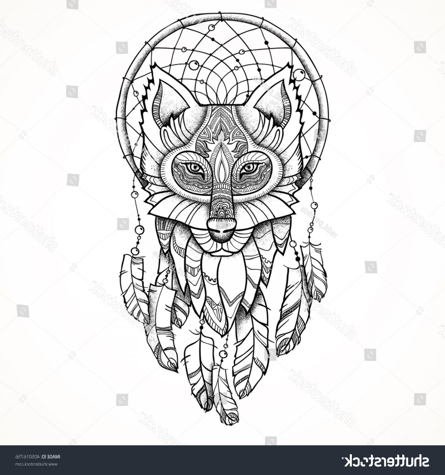 Dreamcatcher Tattoo Vector: Vector Illustration Ethnic Totem Wolf Dreamcatcher