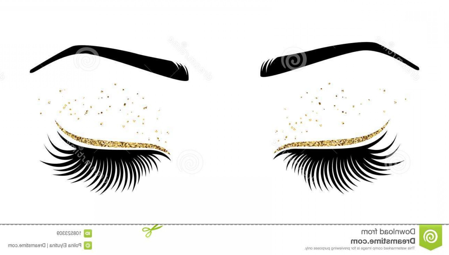 Top Eye Lashes Vector: Vector Illustration Eyes Long Eyes Lashes Beauty Salon Lash Extensions Maker Vector Illustration Eyes Long Image