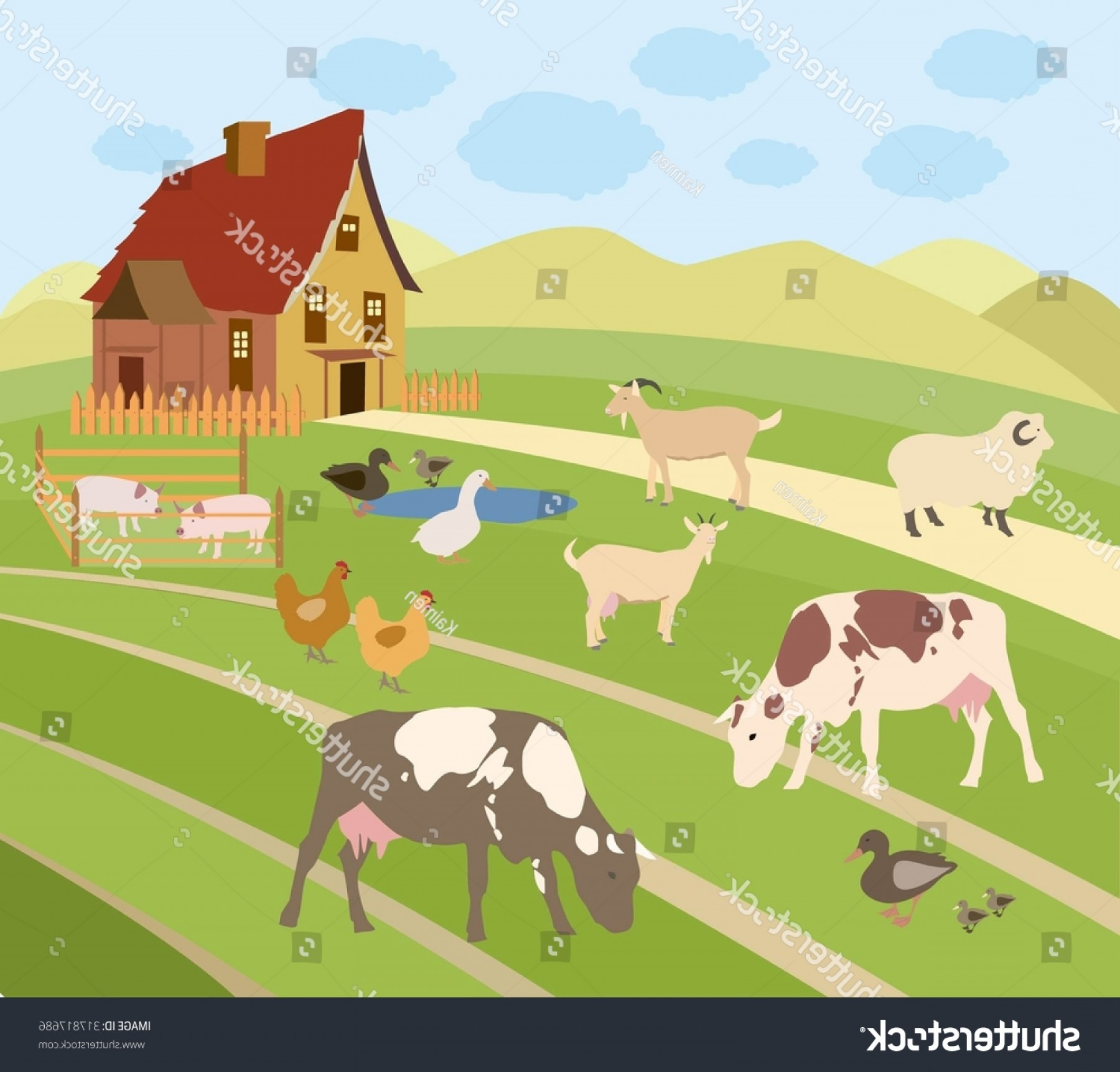 Farm Vector Illustration: Vector Illustration Farm Animals Rural Scene