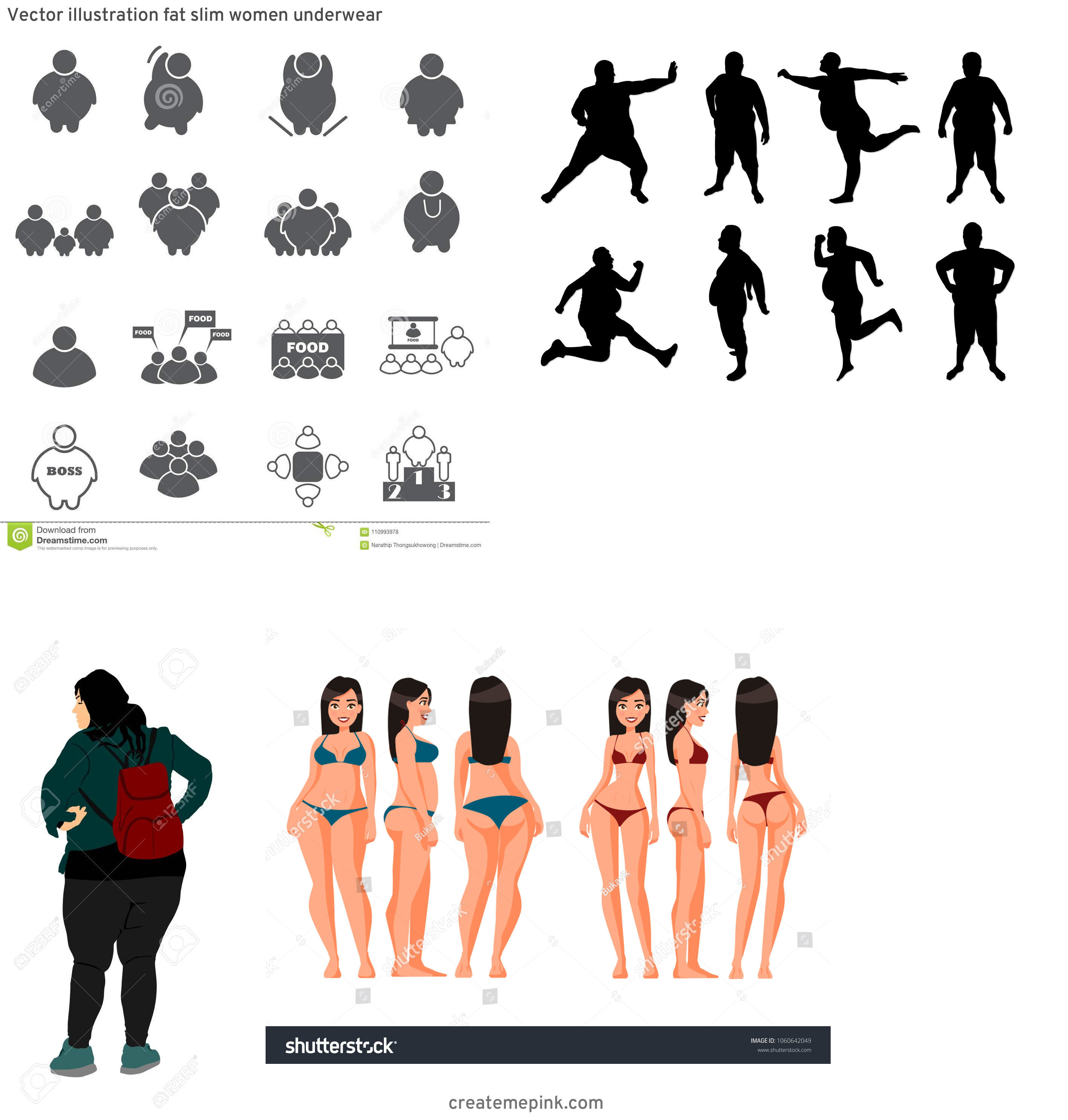 People Silhouette Vector Illustration Of Fat: Vector Illustration Fat Slim Women Underwear