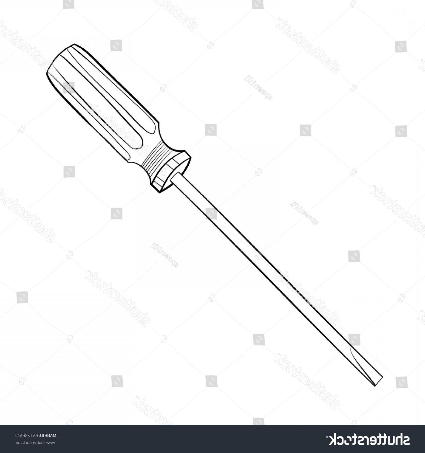 Flat Head Screwdriver Vector: Vector Illustration Flat Head Screwdriver Black