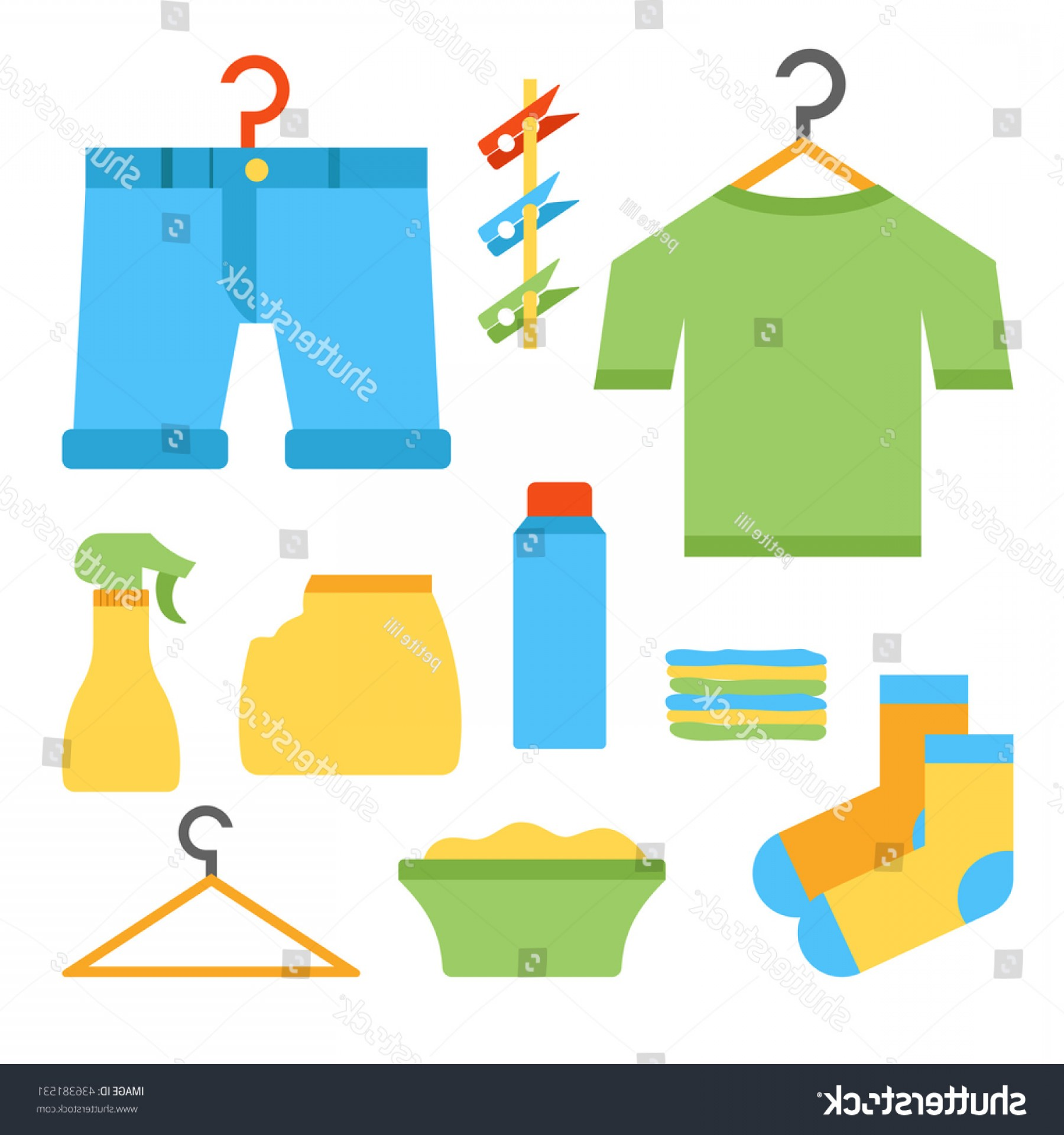 Powder Coating Vector Art: Vector Illustration Flat Laundry Room Objects
