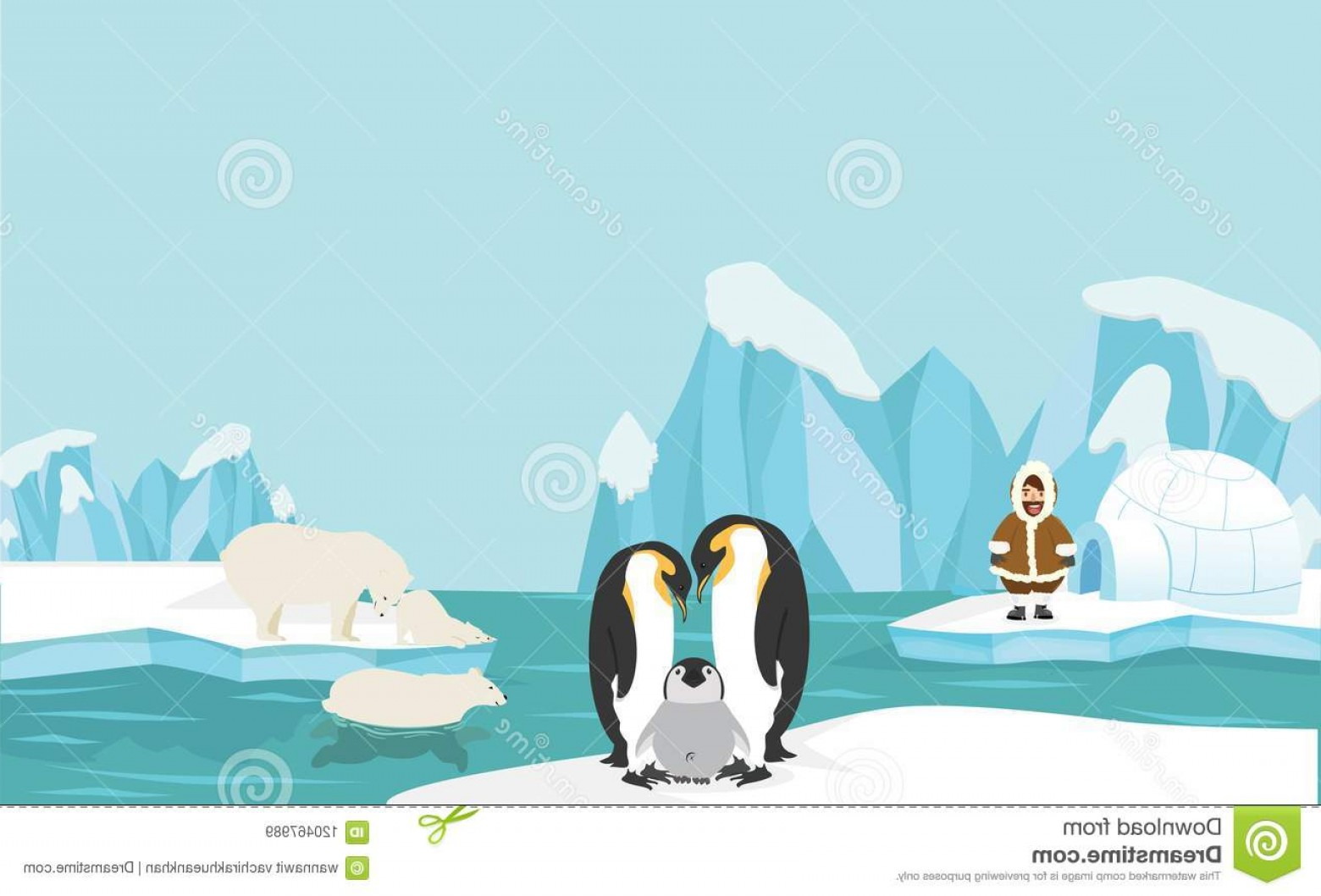 North Pole Landscape Vector: Vector Illustration Flat Minimal Vector File Copy Space Icon Animals People North Pole Arctic Landscape Background Image